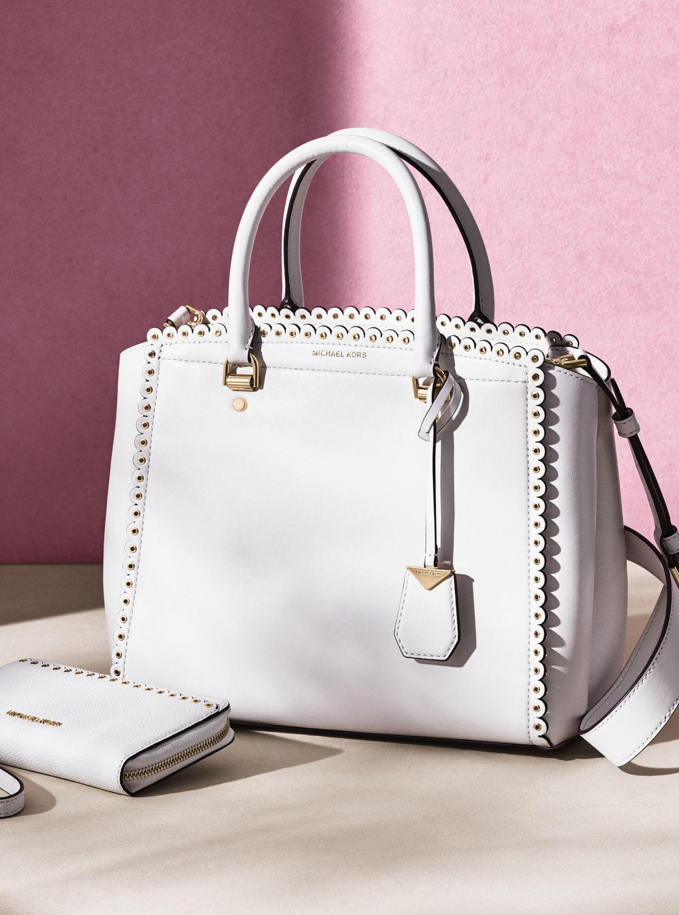 79071e21a929 Lyst - Michael Kors Benning Large Scalloped Leather Satchel in White