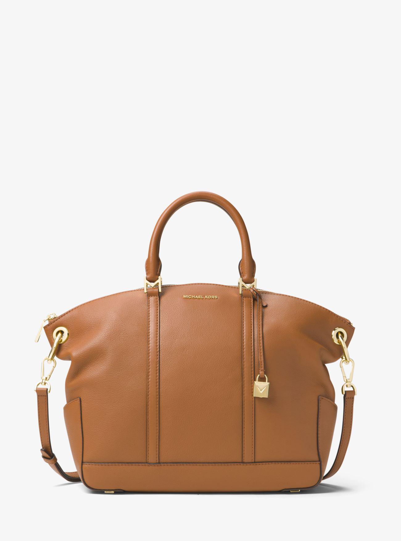 442071289942 ... Saffiano Leather Hamilton Satchel Michael kors Beckett Large Leather  Satchel in Brown Lyst ...