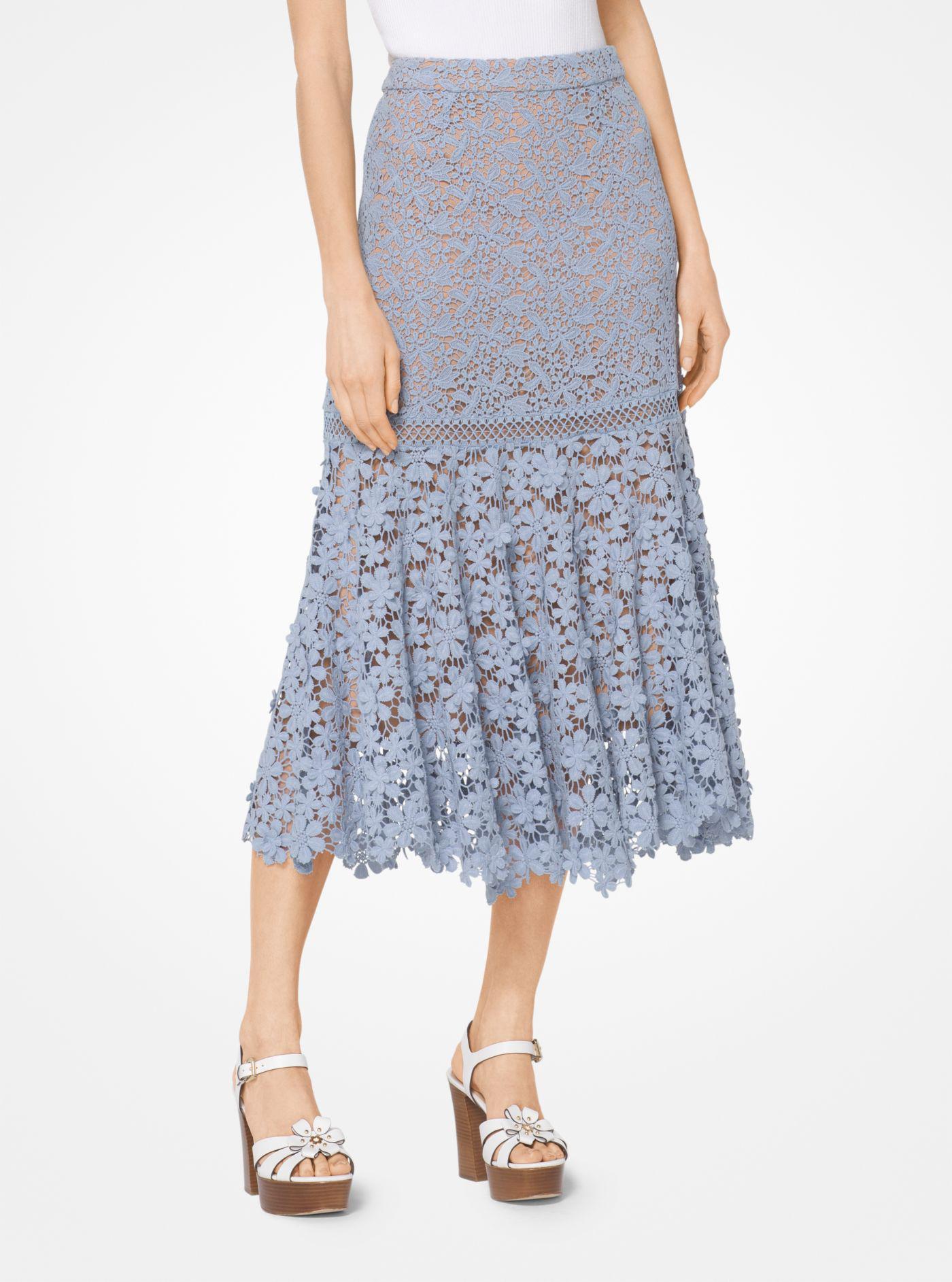 Lyst - Falda de encaje con estampado floral variado Michael Kors de ... 7a712f3fbc33