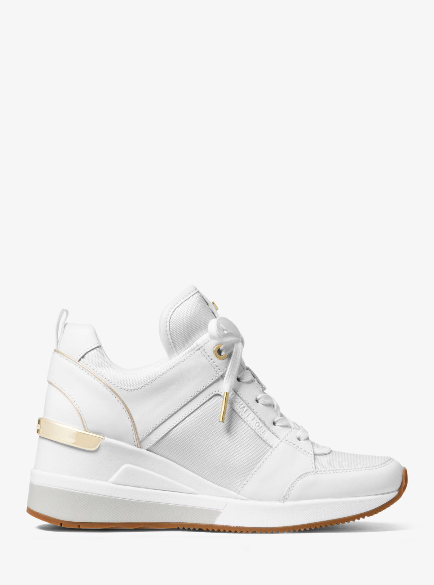 71e6c77b25b Lyst - Michael Kors Georgie Canvas And Leather Sneaker in White