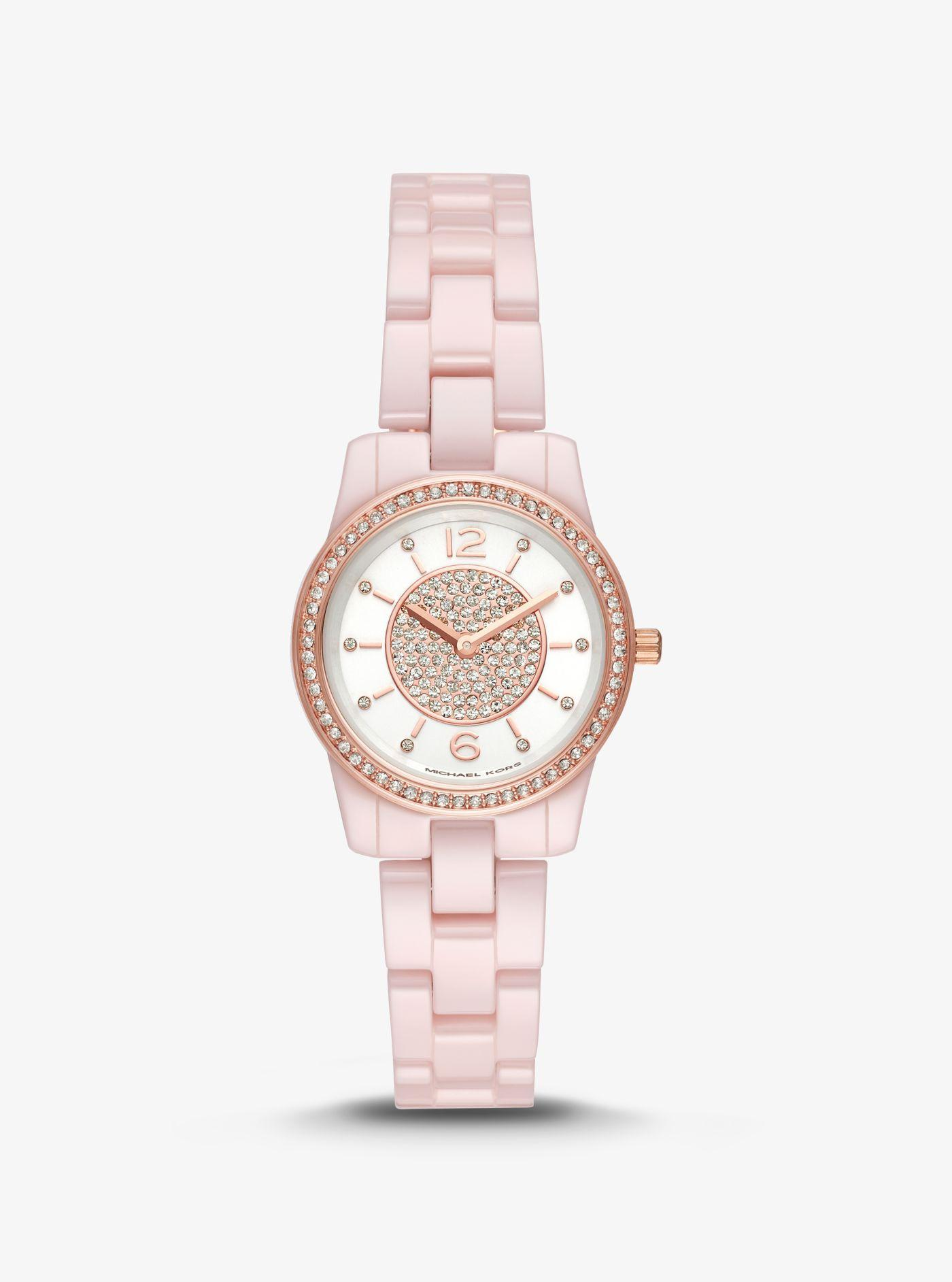 cab8cbed40ff Lyst - Michael Kors Petite Runway Pavé Ceramic Watch in Pink