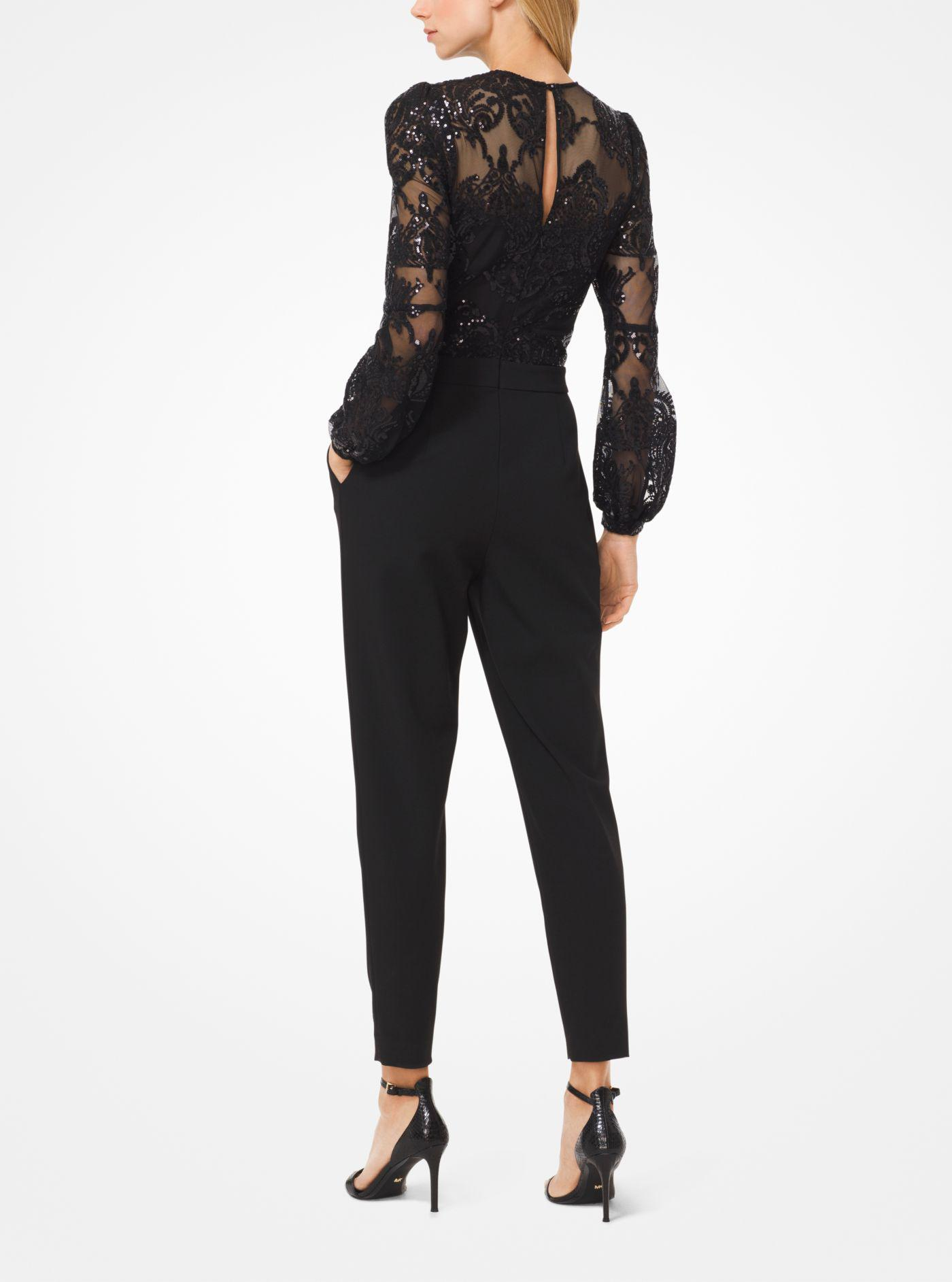 969d45365fd Michael Kors - Black Sequined Mesh Jumpsuit - Lyst. View fullscreen