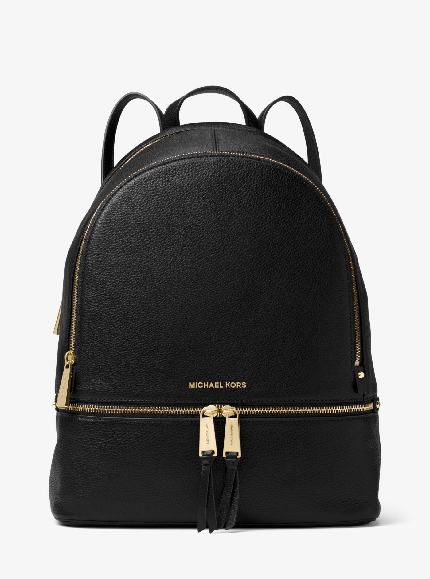 f000b71b18bf Michael Kors - Black Rhea Large Leather Backpack - Lyst. View fullscreen