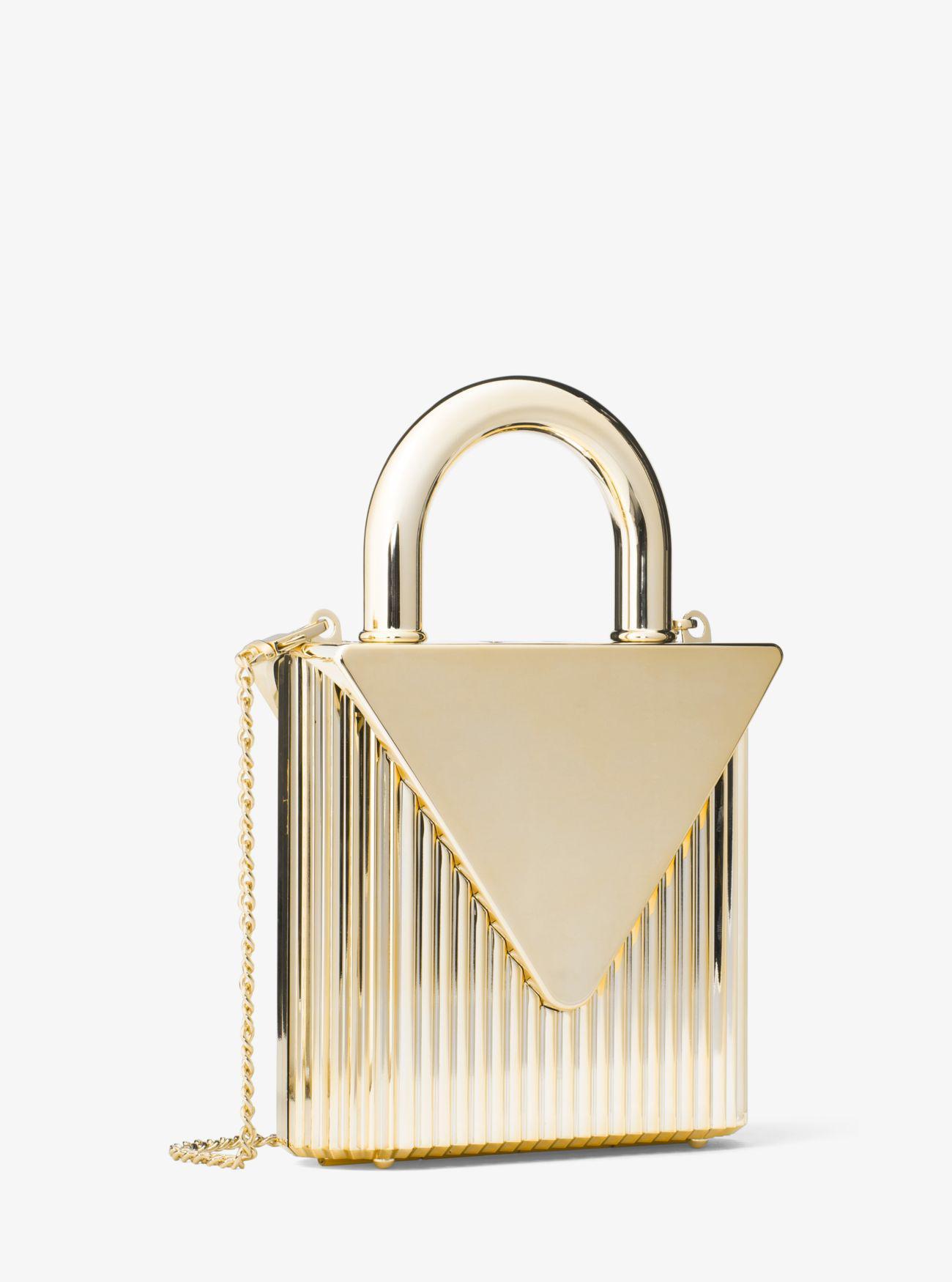 0363d62c2a29 Michael Kors Mercer Lock Clutch in Metallic - Lyst