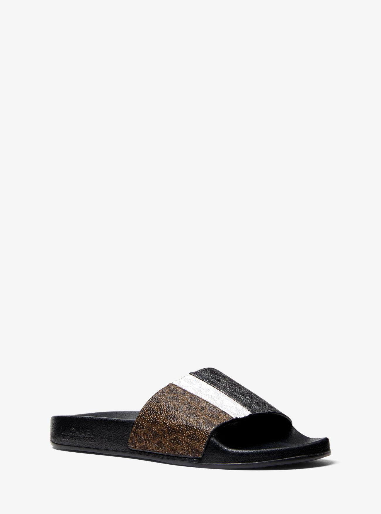 6c0fddb87 Lyst - Michael Kors Ayla Color-block Logo Slide Sandal - Save 25%