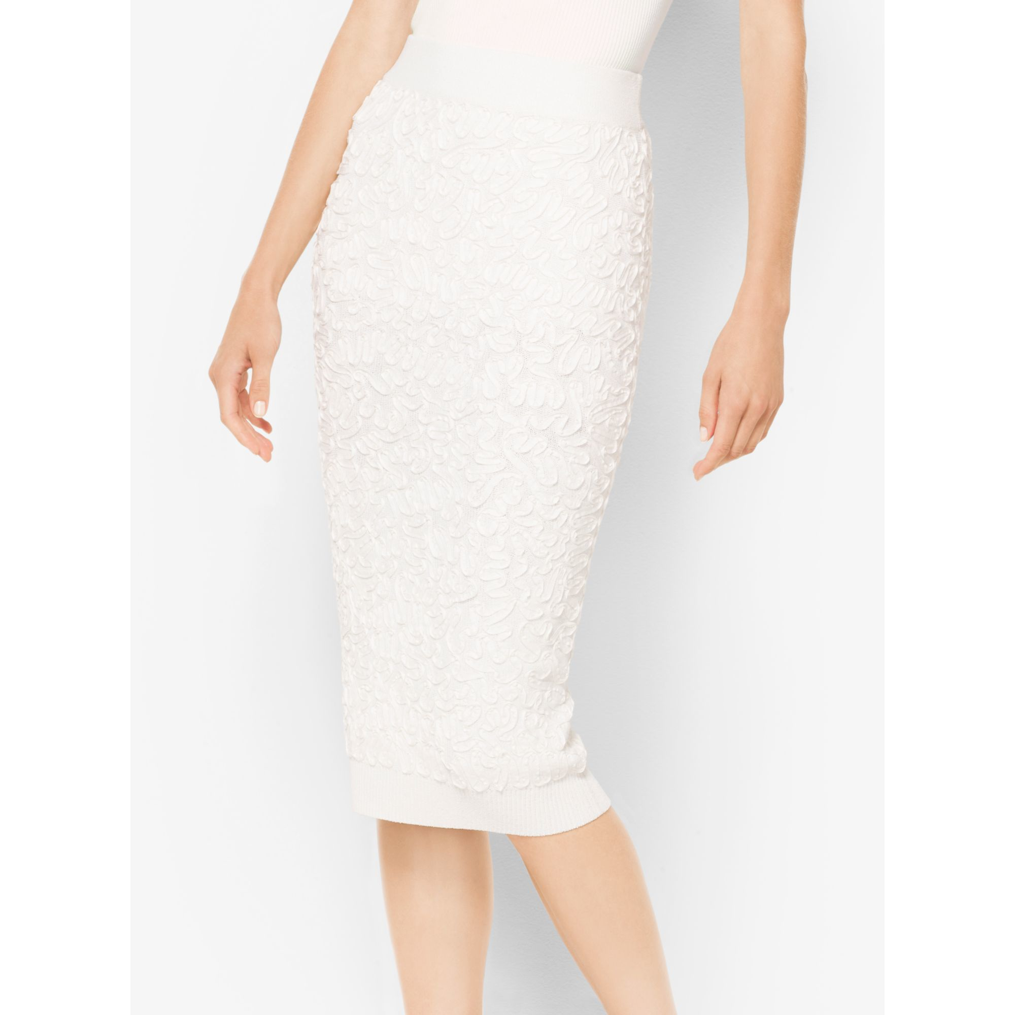 michael kors soutache stretch viscose pencil skirt in