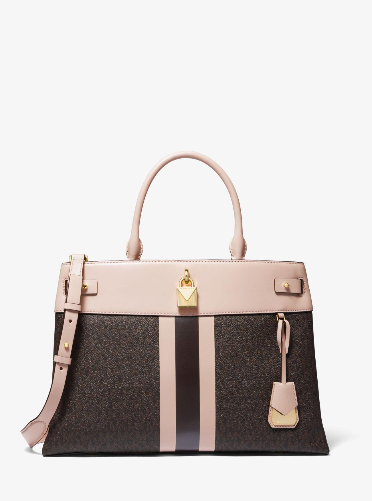 975bce7965b9 MICHAEL Michael Kors. Women s Brown Gramercy Large Striped Leather And Logo  Satchel