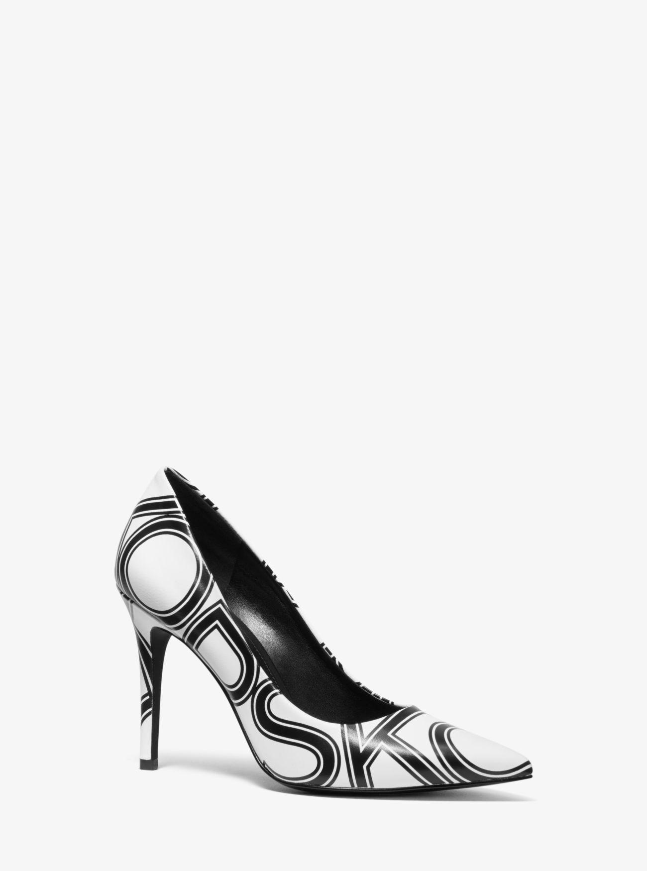 37ab6e6de1 MICHAEL Michael Kors. Women's Black Claire Graphic Logo Leather Pump
