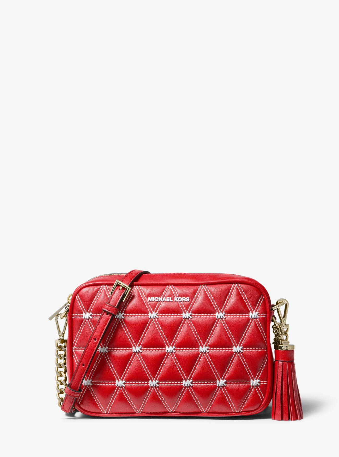 c10a4a0a36c6 MICHAEL Michael Kors. Women's Red Ginny Medium Quilted Leather Crossbody Bag