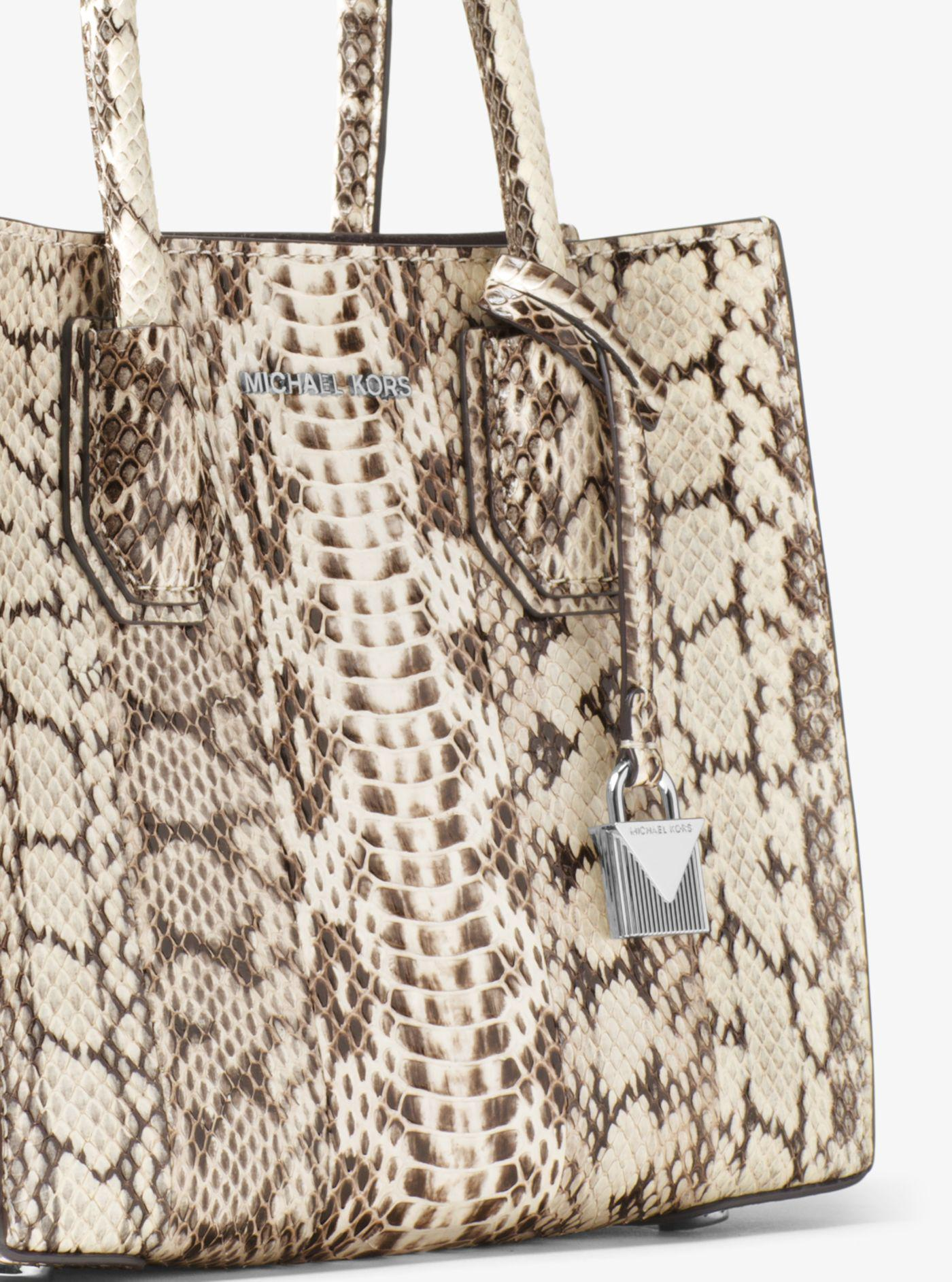 1702191bd5d9 ... switzerland michael kors natural mercer snakeskin crossbody lyst. view  fullscreen f497d 72ac4