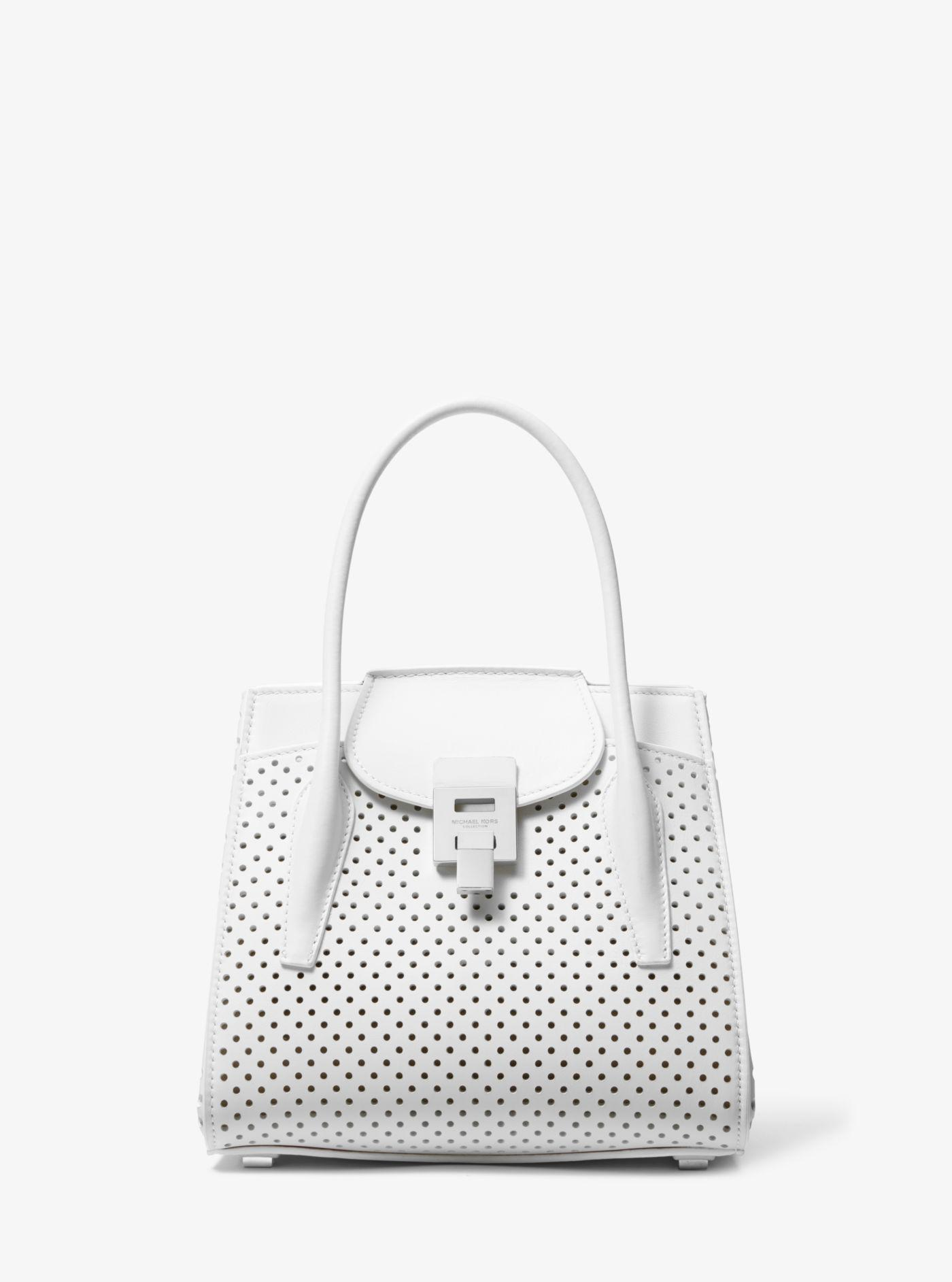 9dbc8f17fda0 Michael Kors. Women's White Bancroft Medium Perforated Calf Leather Satchel