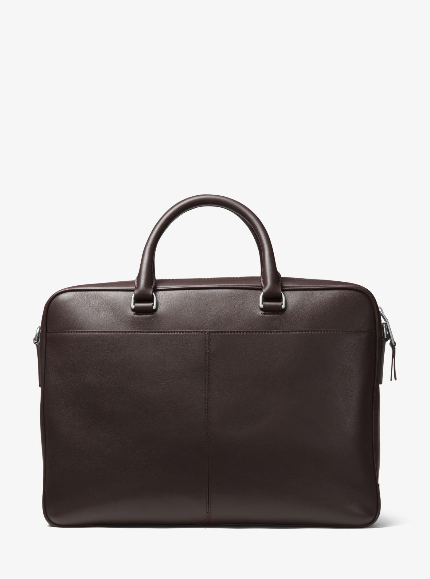 3613da9c8ea8 Lyst - Michael Kors Odin Large Leather Briefcase in Brown for Men