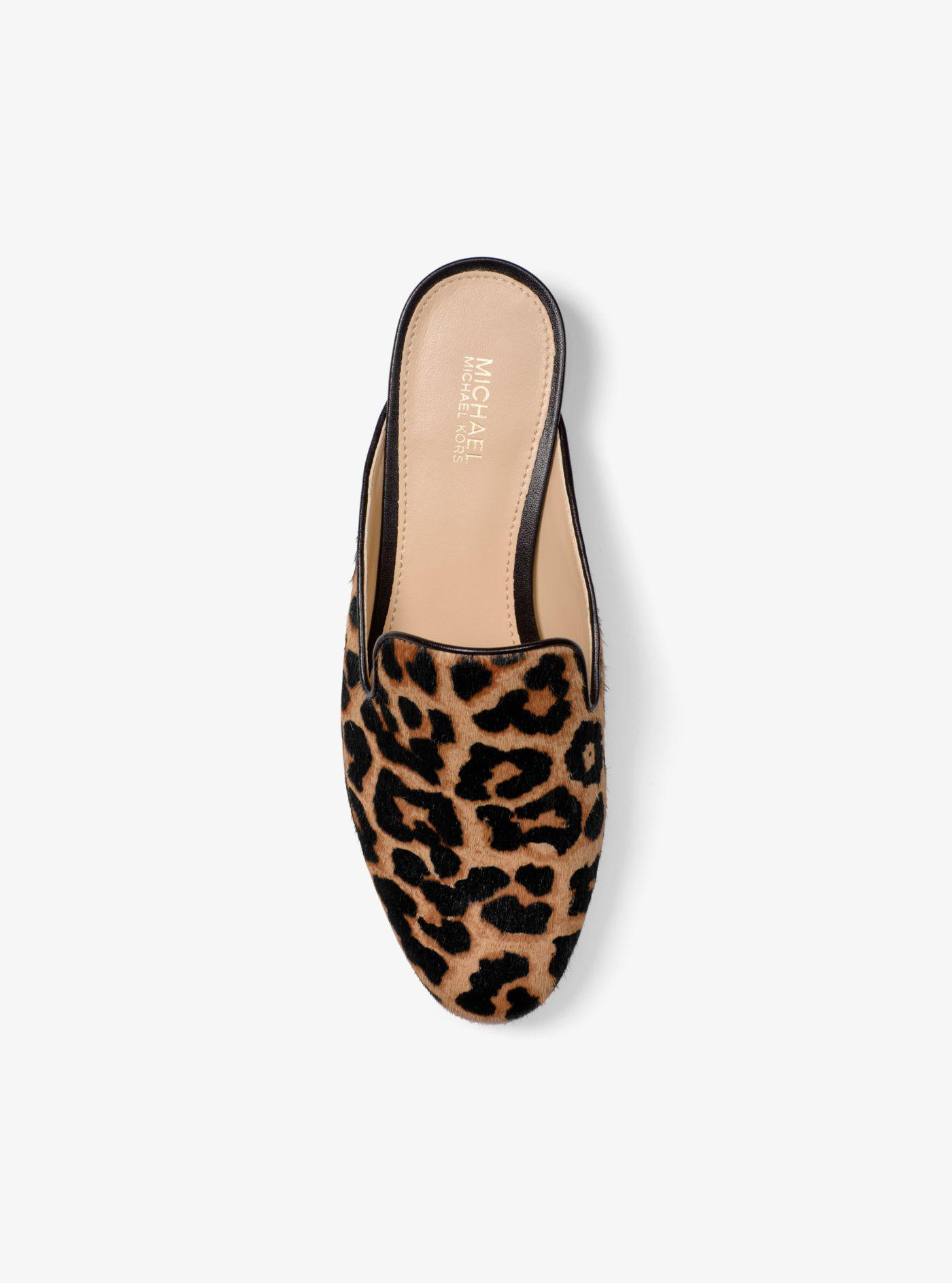 d208defee616 Michael Kors Natasha Leopard Calf Hair Slide - Lyst