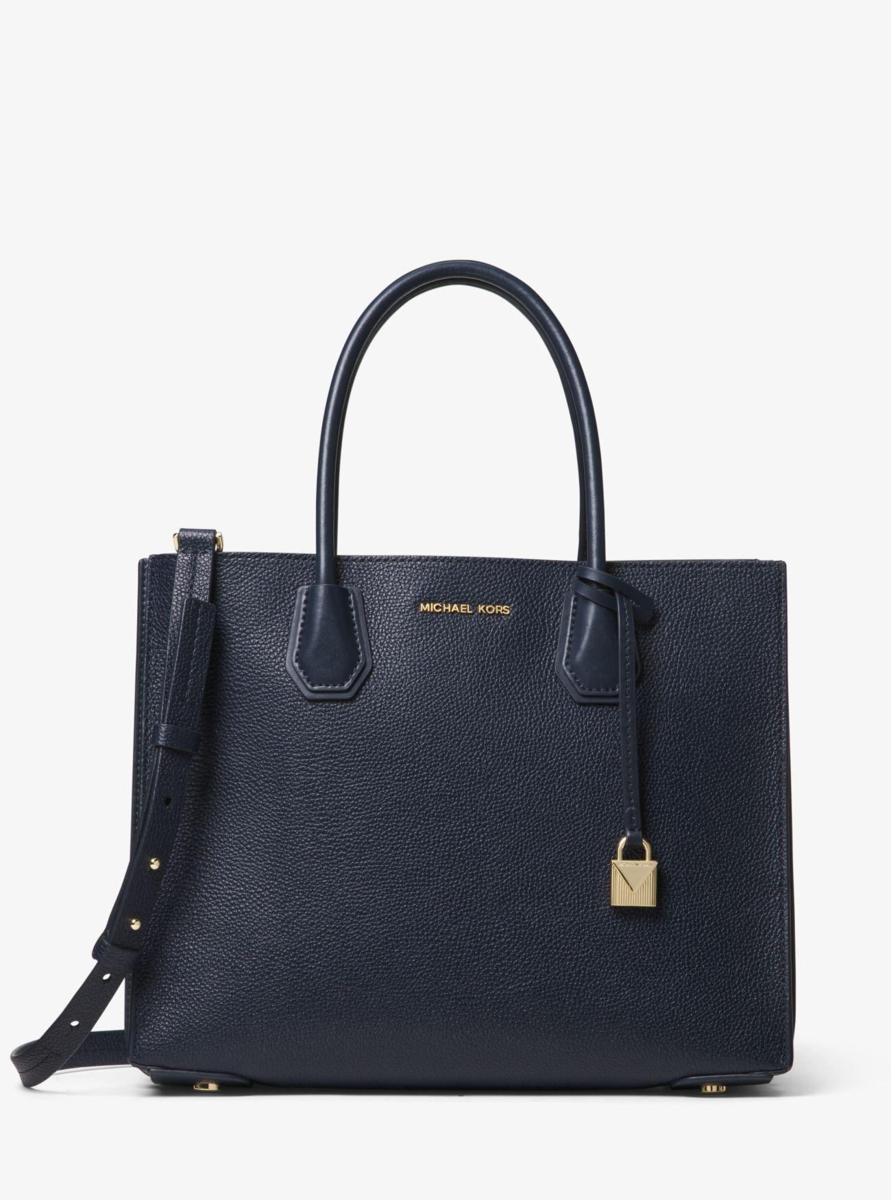 db99440de7a947 Lyst - MICHAEL Michael Kors Mercer Large Pebbled Leather Accordion Tote Bag  in Blue