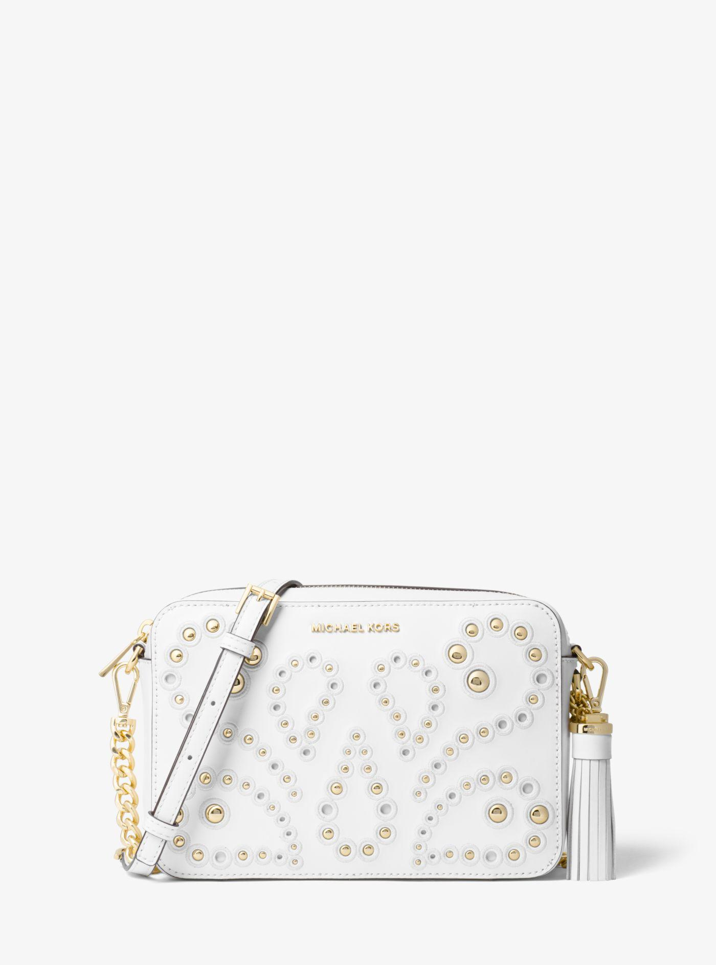 b8abb1f12375 Michael Kors Ginny Medium Embellished Leather Crossbody in White - Lyst