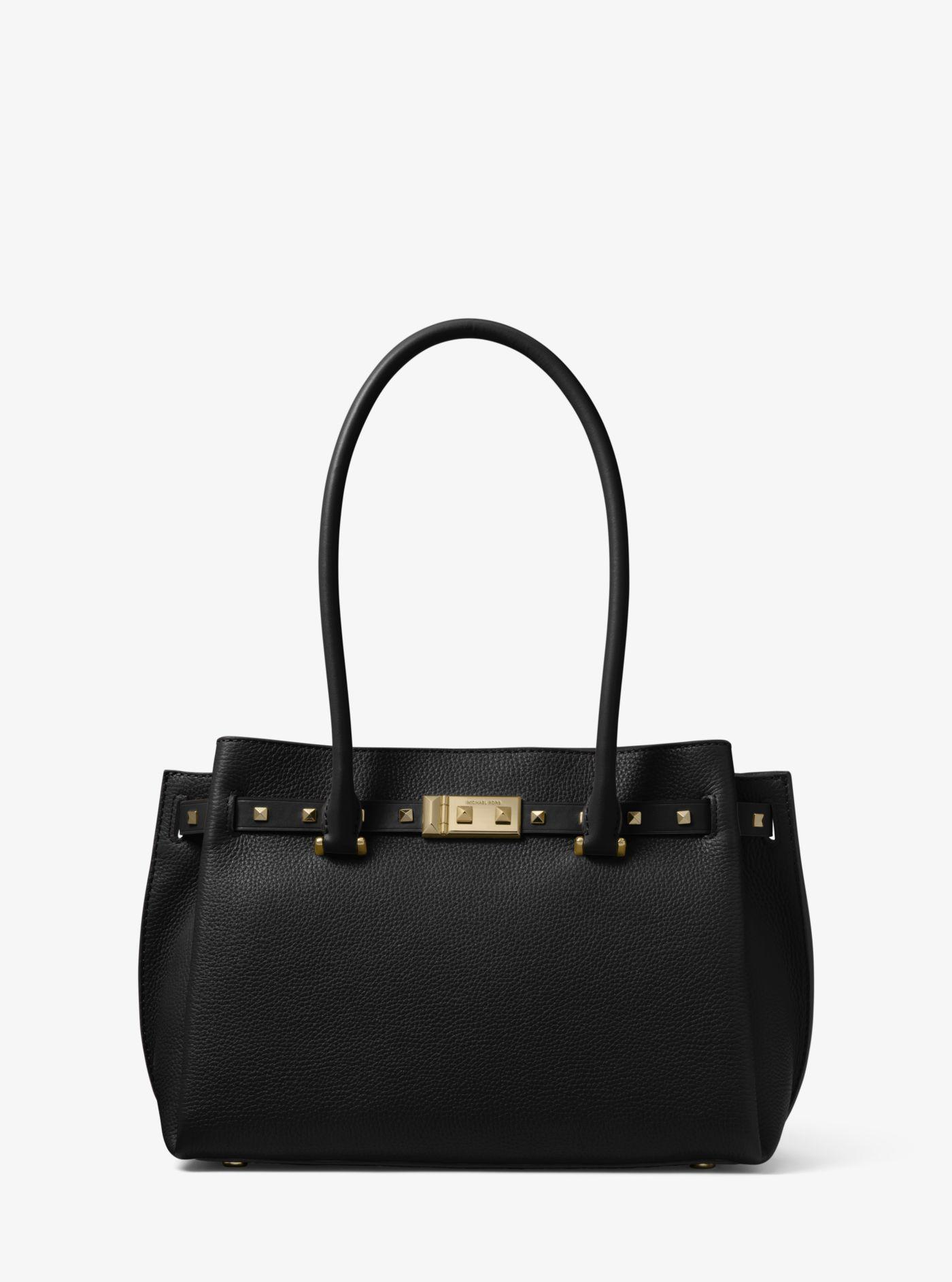 bfe87ff0e3b1 Lyst - Michael Kors Addison Medium Pebbled Leather Tote Bag in Black