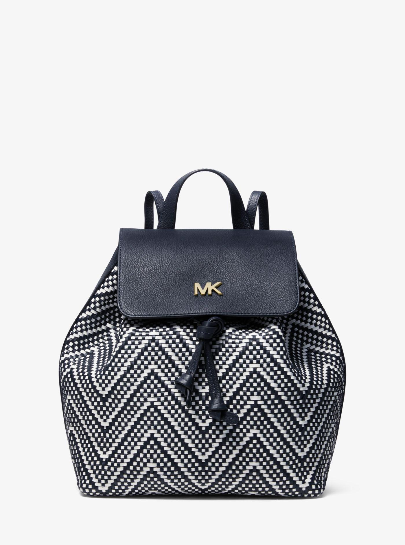 b5088479a9cb80 Michael Kors. Women's Junie Medium Woven Leather Backpack