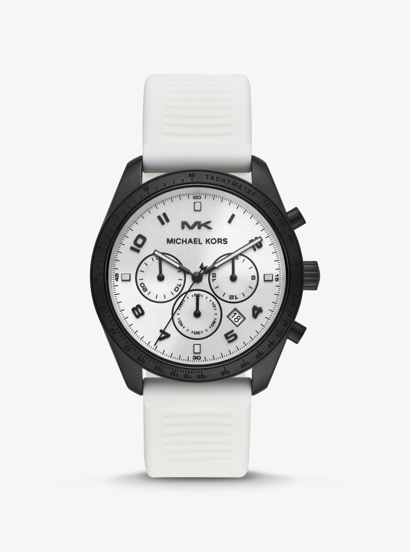 0278923f1468 Michael Kors - White Keaton Black-tone And Silicone Watch - Lyst. View  fullscreen