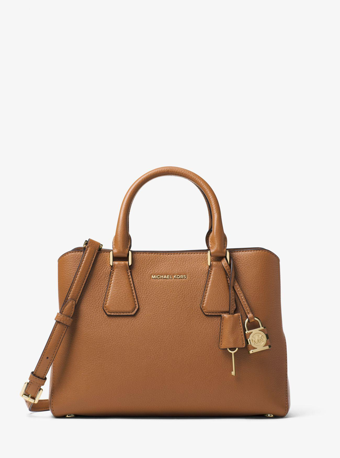 68a33682a76c Lyst - Michael Kors Camille Leather Satchel in Brown