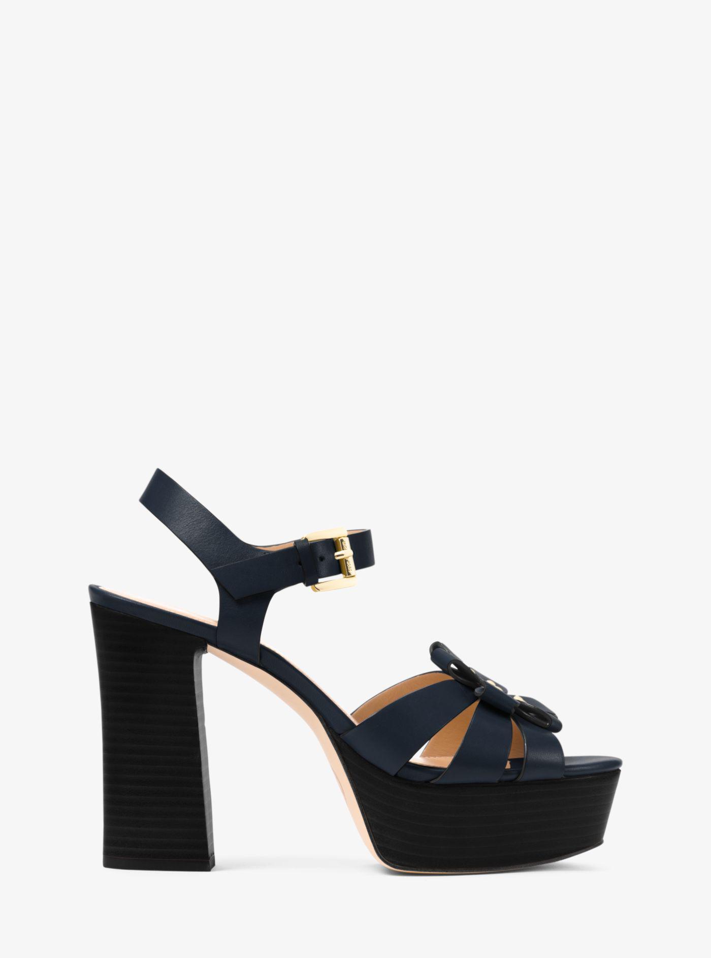 587de0ae068 Lyst - Michael Kors Tara Floral Embellished Leather Platform Sandal
