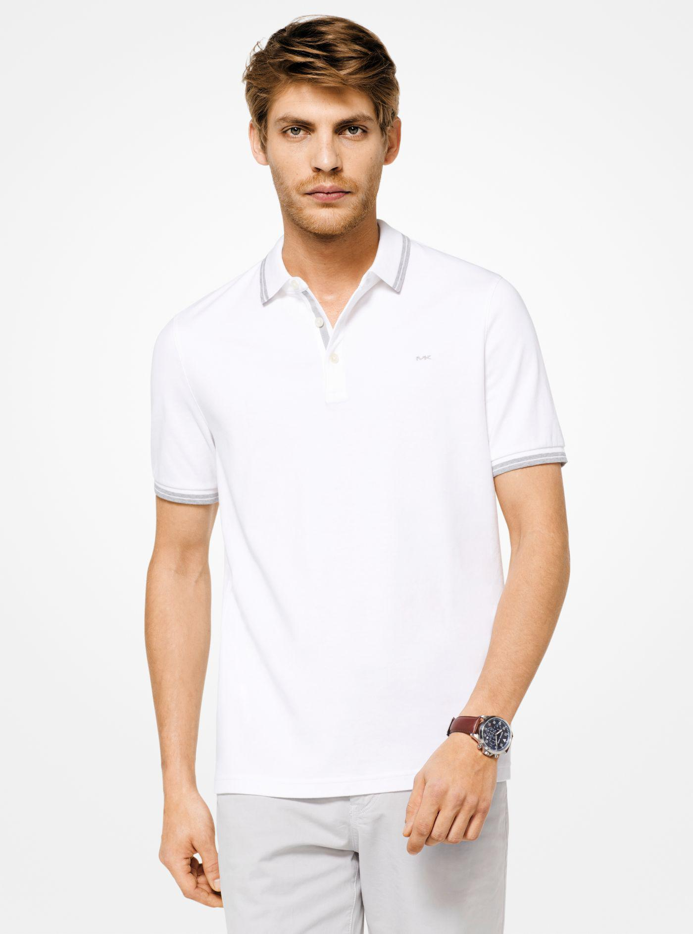 d62b31a5a33c01 Michael Kors Greenwich Cotton Polo Shirt in White for Men - Lyst