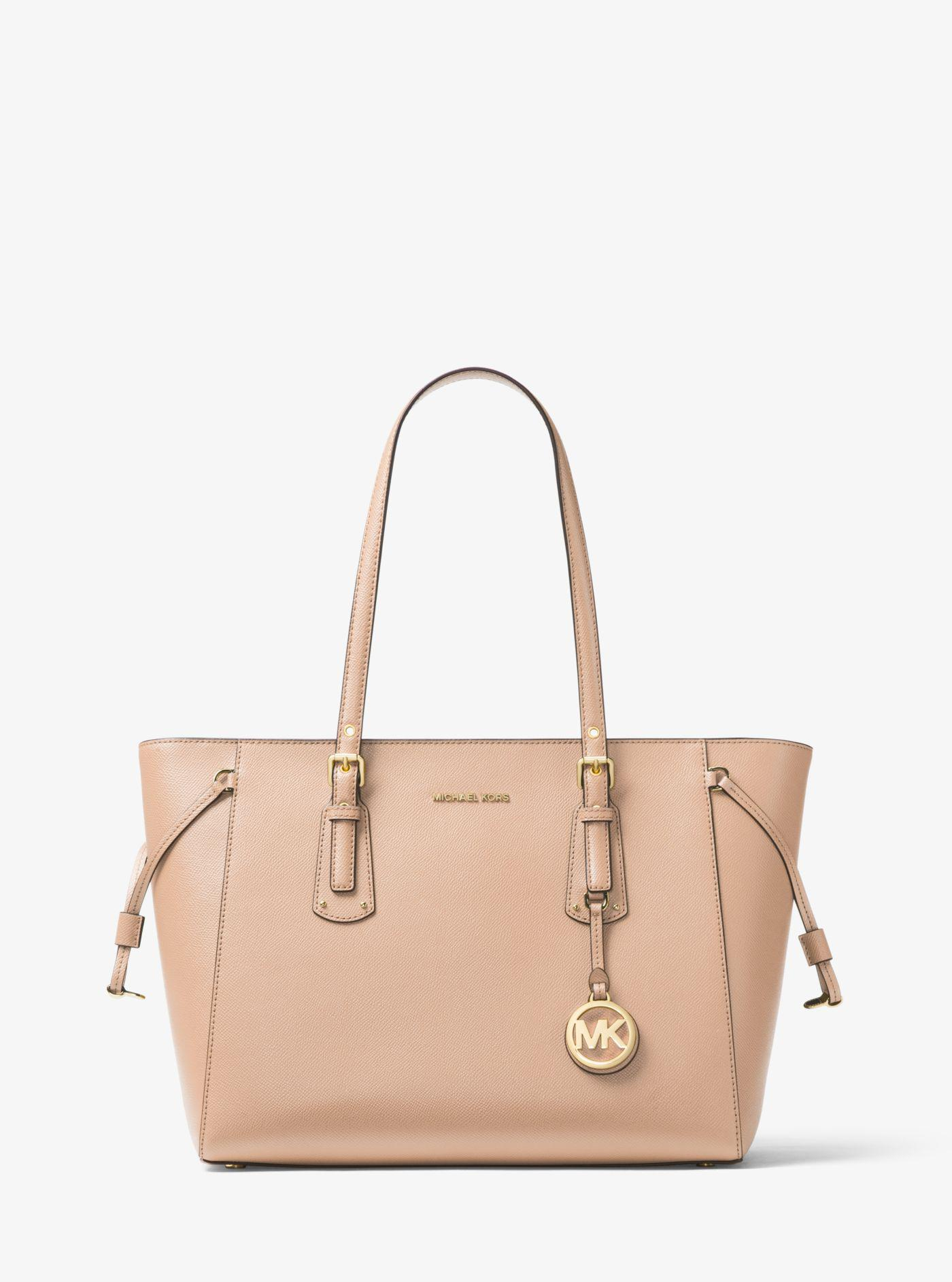 d0a96f9222eed3 Michael Kors - Pink Voyager Medium Leather Tote - Lyst. View fullscreen