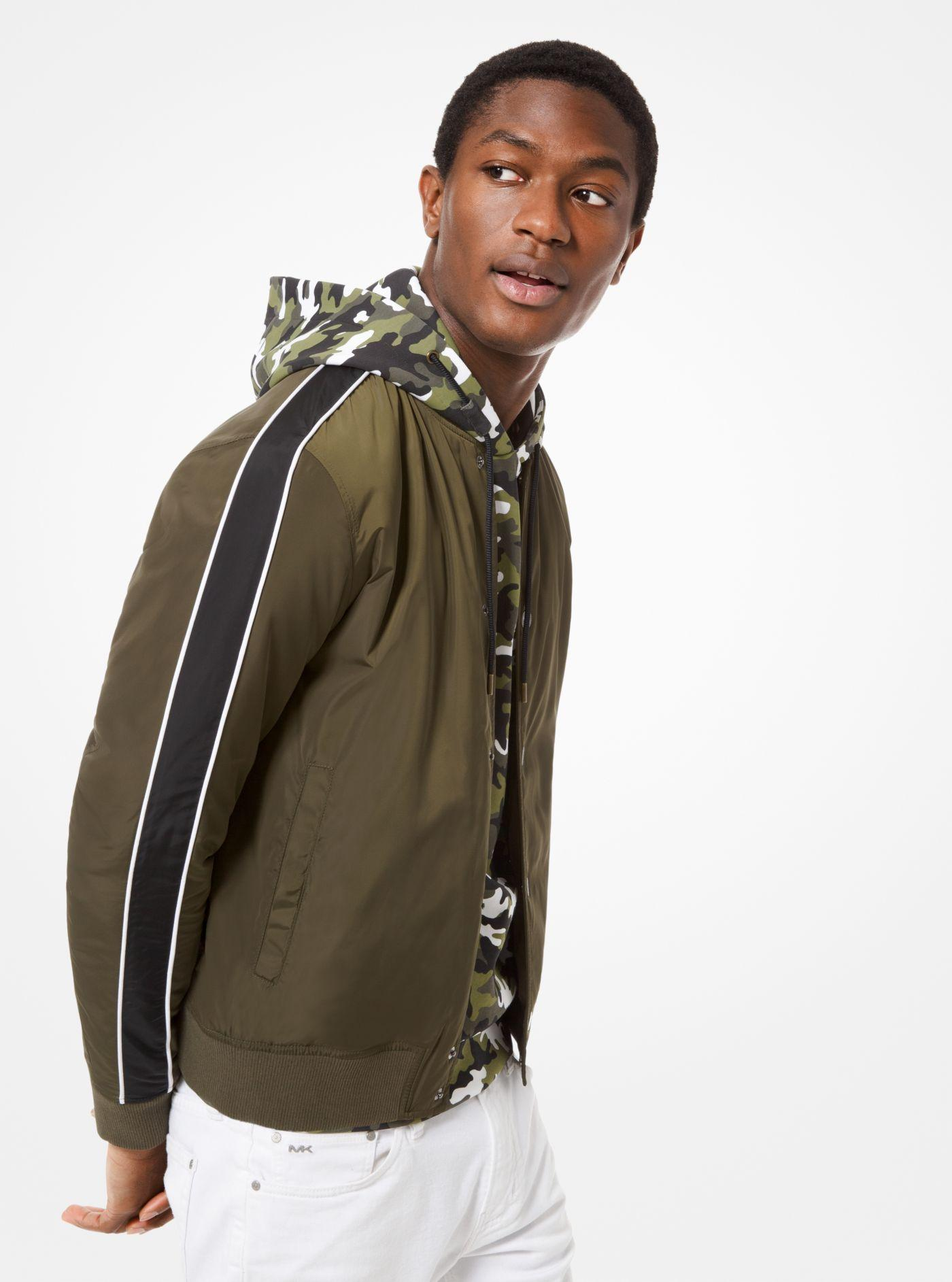 92ab2e82fc35b Lyst - Michael Kors Stripe-sleeve Nylon Baseball Jacket in Green for Men
