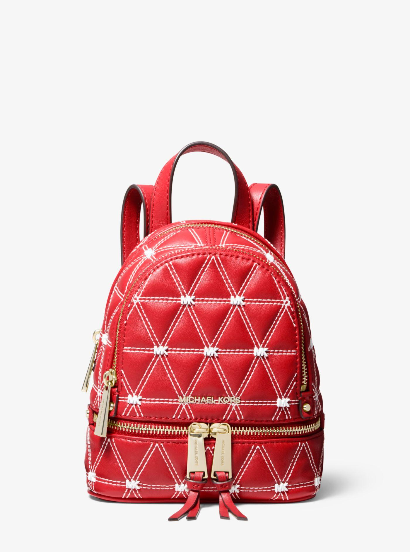 Michael Kors - Red Rhea Mini Quilted Leather Backpack - Lyst. View  fullscreen 708852c633