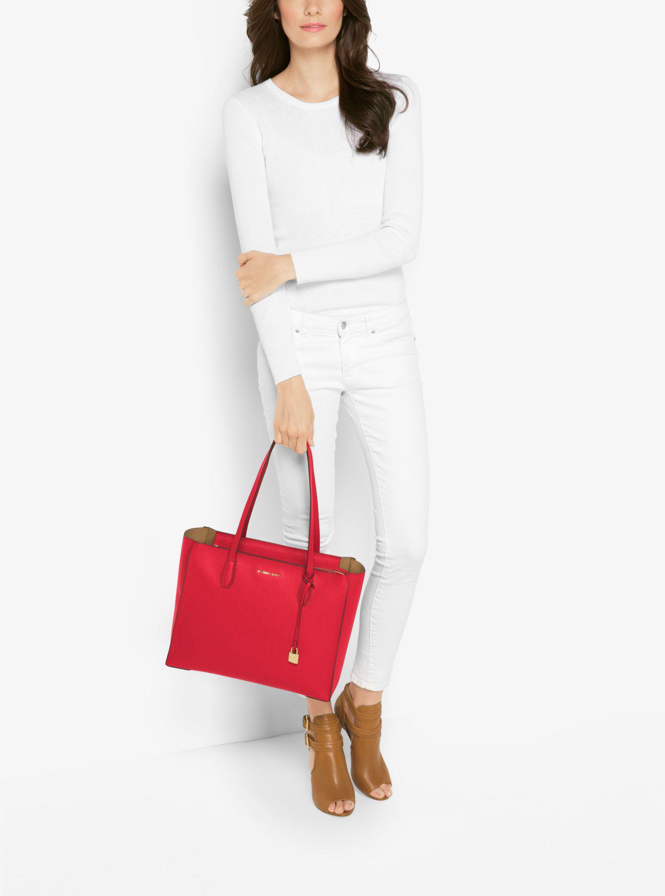 d6835f8cae21 Michael Kors Mercer Large Pebbled Leather Top-zip Tote Bag in Red - Lyst