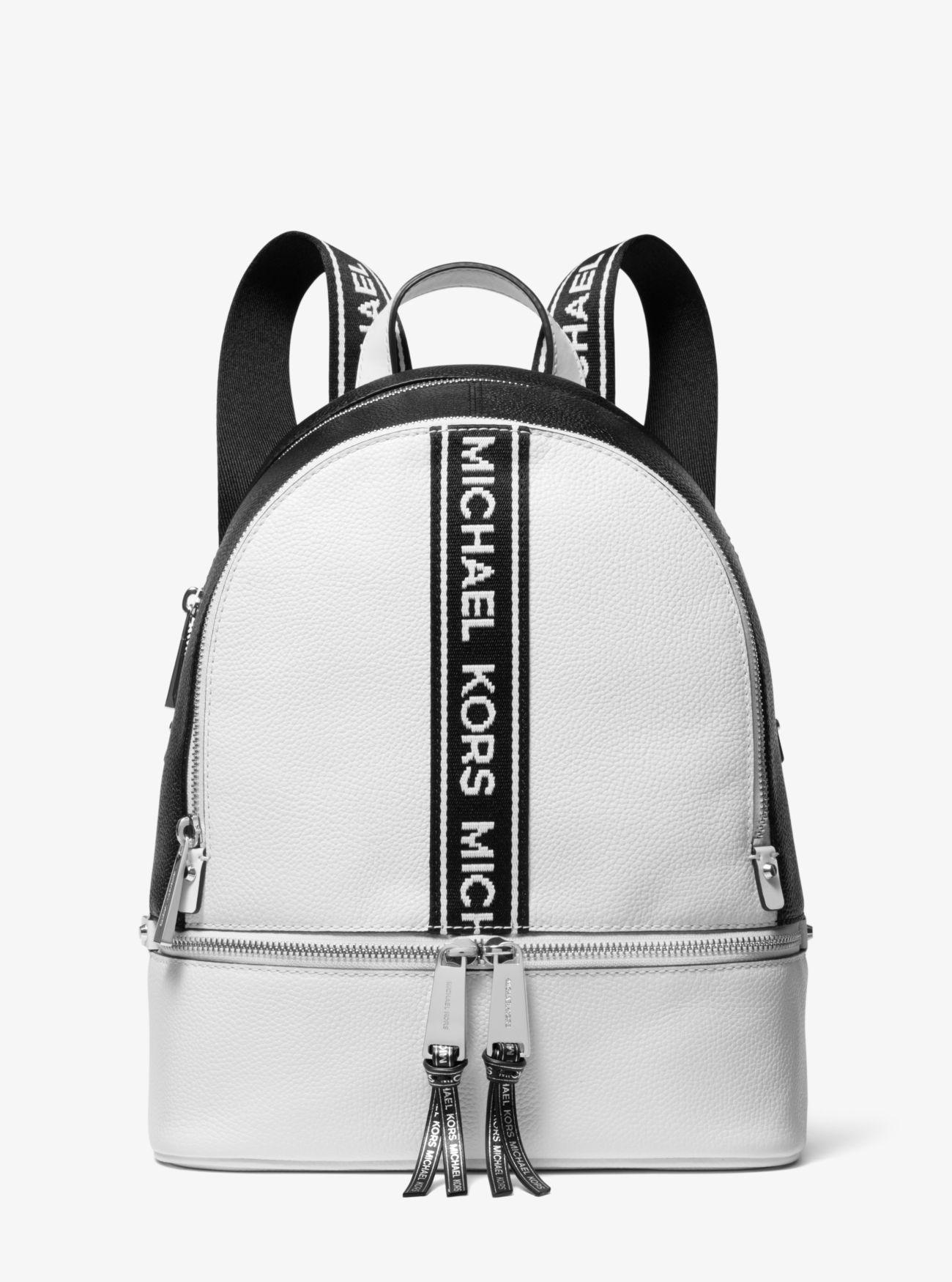 842c56ec59e6 Michael Kors Rhea Medium Logo Tape Backpack in White - Lyst