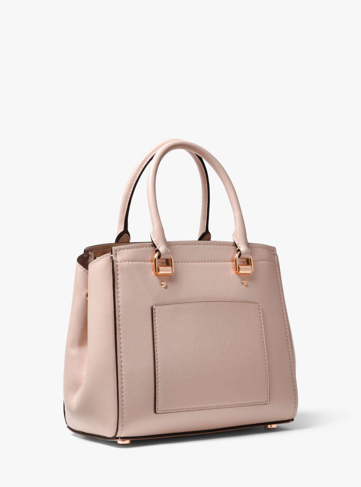 46d142f2939e Michael Kors Benning Medium Perforated Leather Satchel in Pink - Lyst