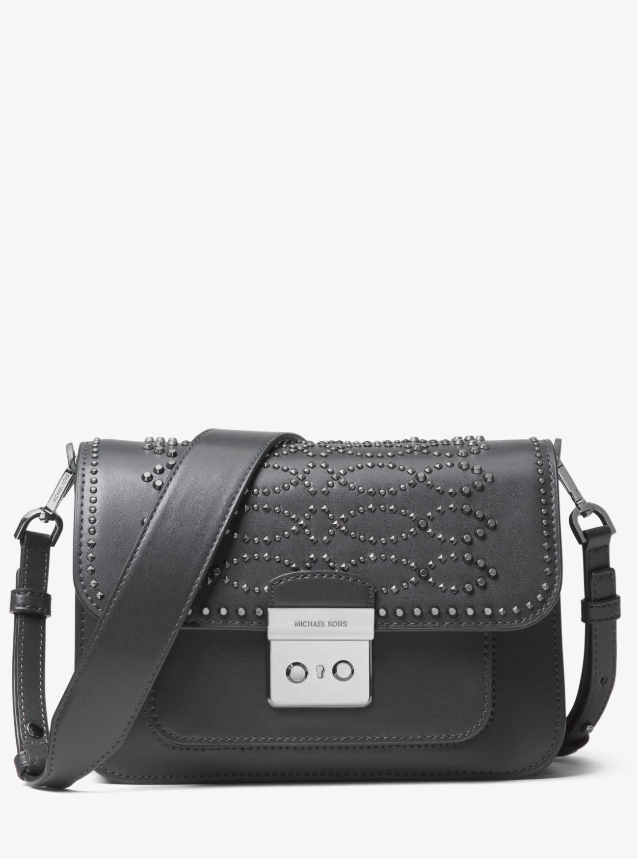 dea6119a53d0 MICHAEL Michael Kors. Women's Gray Sloan Editor Studded Leather Shoulder Bag
