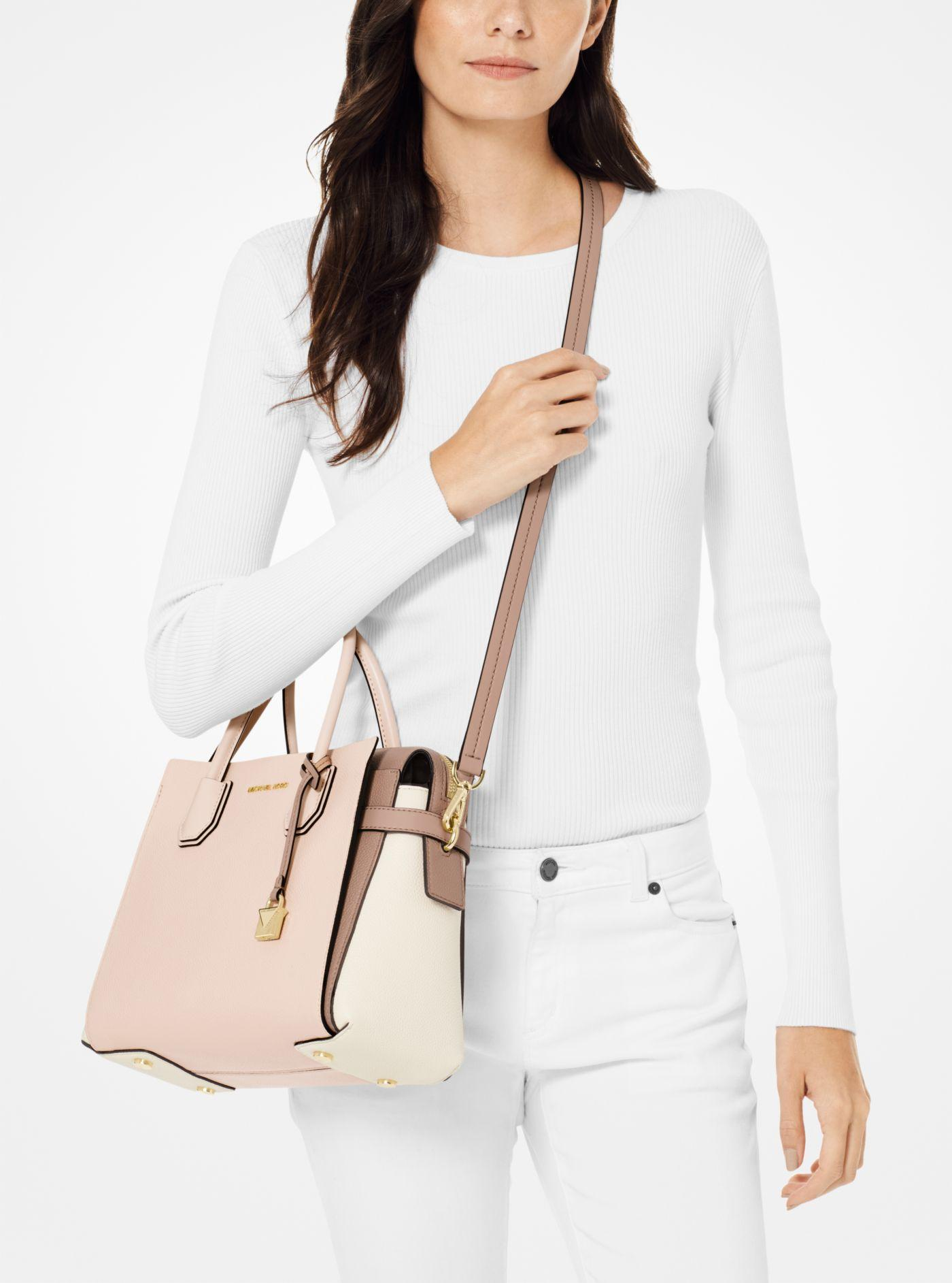 e8a21d91a716 ... Mercer Medium Tri-color Pebbled Leather Belted Satchel - Lyst. View  fullscreen