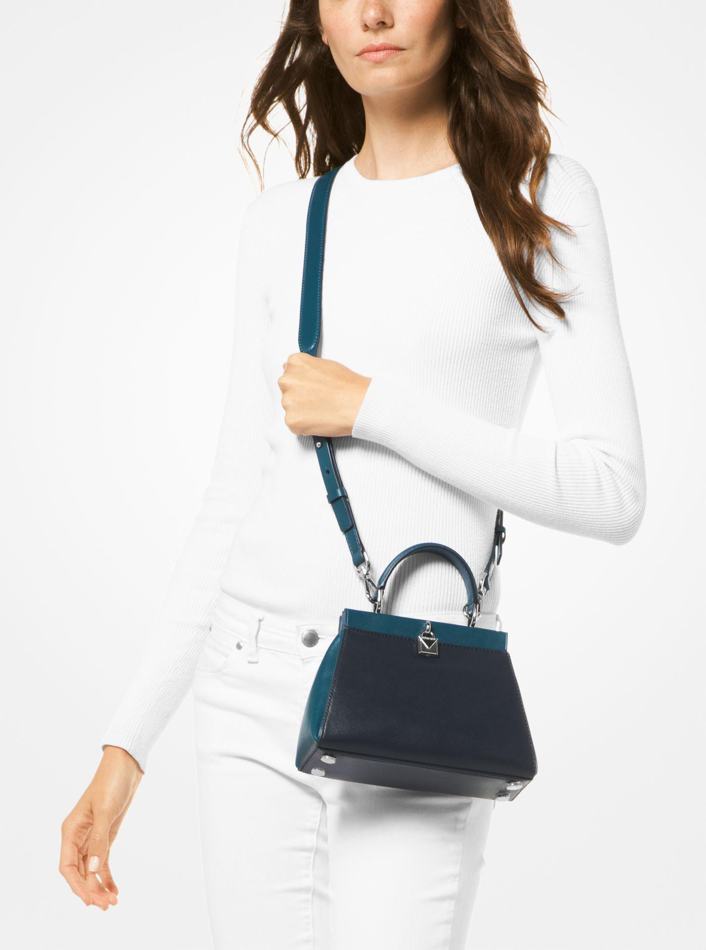 6ffb500913087a Michael Kors Gramercy Small Color-block Leather Frame Satchel in ...