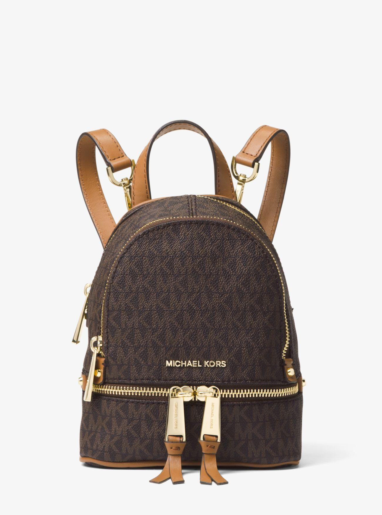 f3120ee0a7f9 Michael Kors - Brown Rhea Mini Logo Backpack - Lyst. View fullscreen