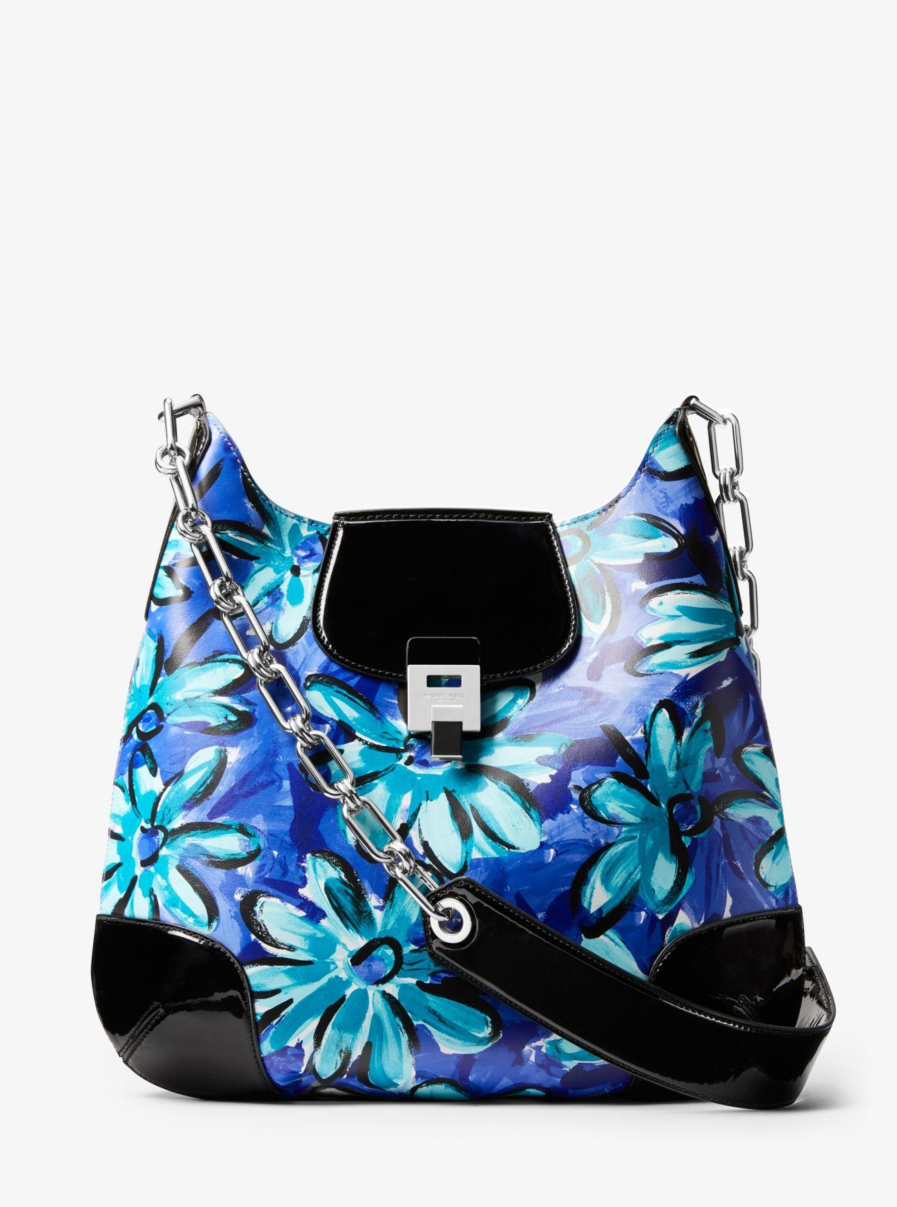 29b4c35a9fd66 Michael Kors. Women s Blue Bancroft Oversized Daisy Calf Leather Shoulder  Bag