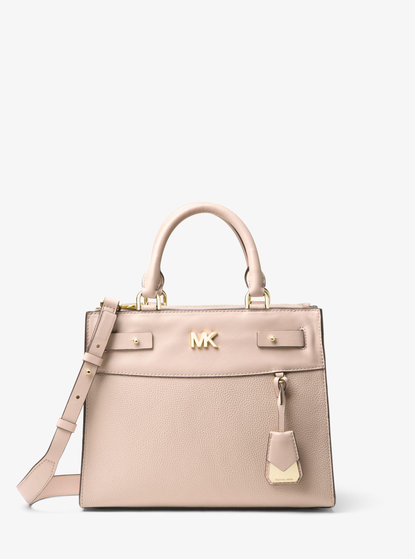 9883f6afaa677c Michael Kors Reagan Medium Leather Satchel in Pink - Lyst