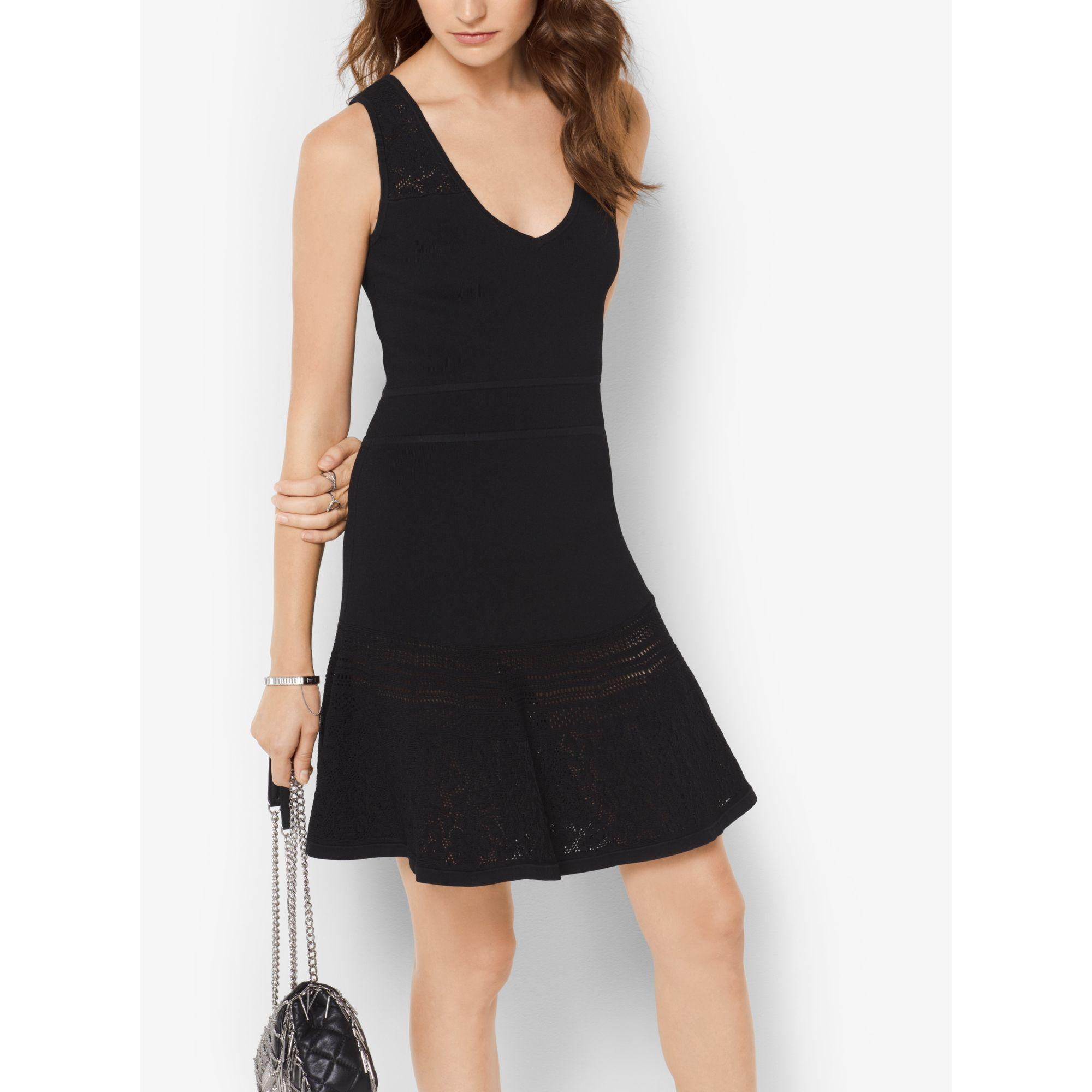 2b1ec978f444 Michael Kors Knitted Fit-and-flare Dress in Black - Lyst