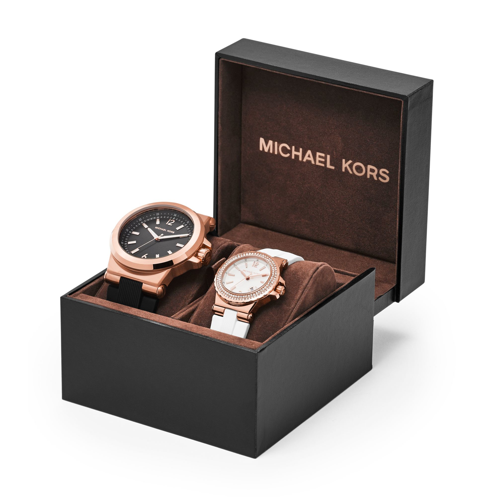 Michael kors Dylan Rose Gold-tone And Silicone Watch Gift Set in ...