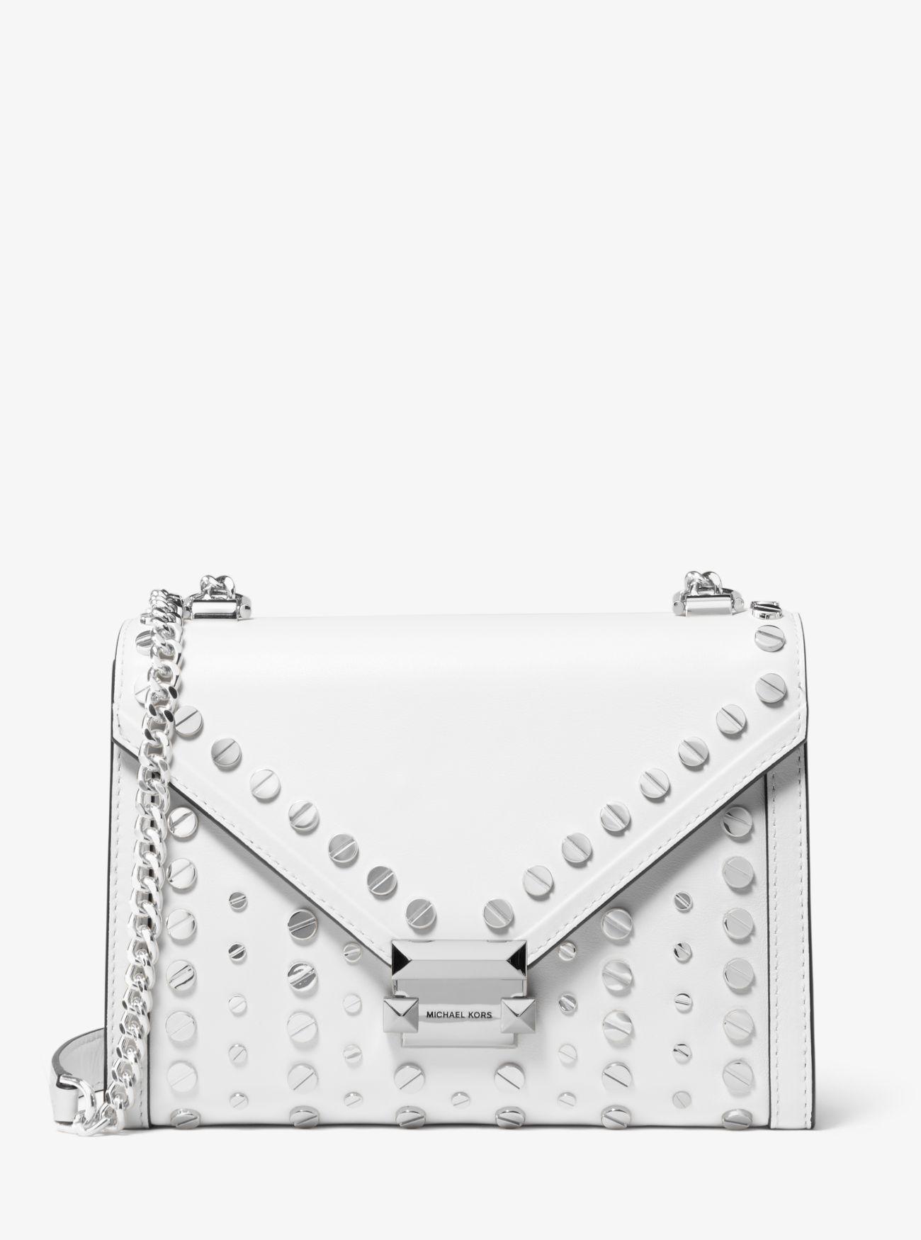 9b5e1786883c Michael Kors - White Whitney Large Studded Leather Convertible Shoulder Bag  - Lyst. View fullscreen