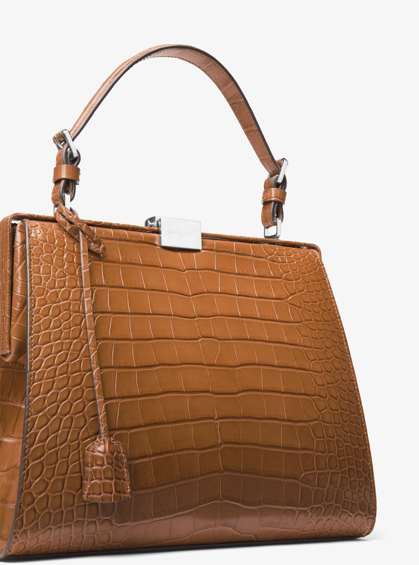f732d1fb07d7 1e1eb c1267 denmark lyst michael kors gia metallic crocodileembossed  satchel bag in 0fffb 1f3fb cheapest michael kors brown simone alligator top  handle bag ...