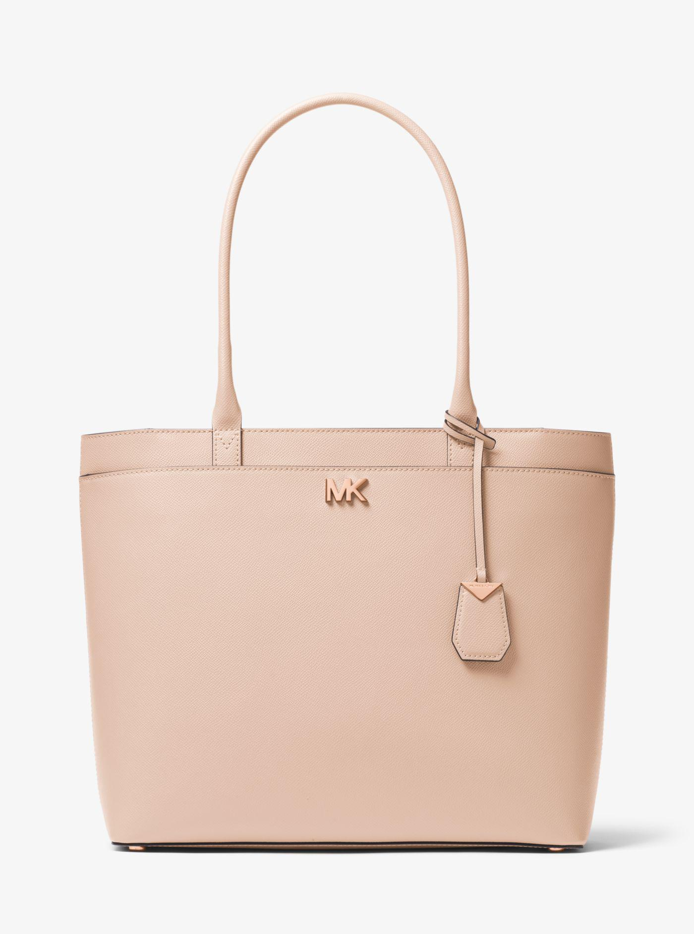 d40683f92 Michael Kors Maddie Large Crossgrain Leather Tote Bag in Pink - Lyst