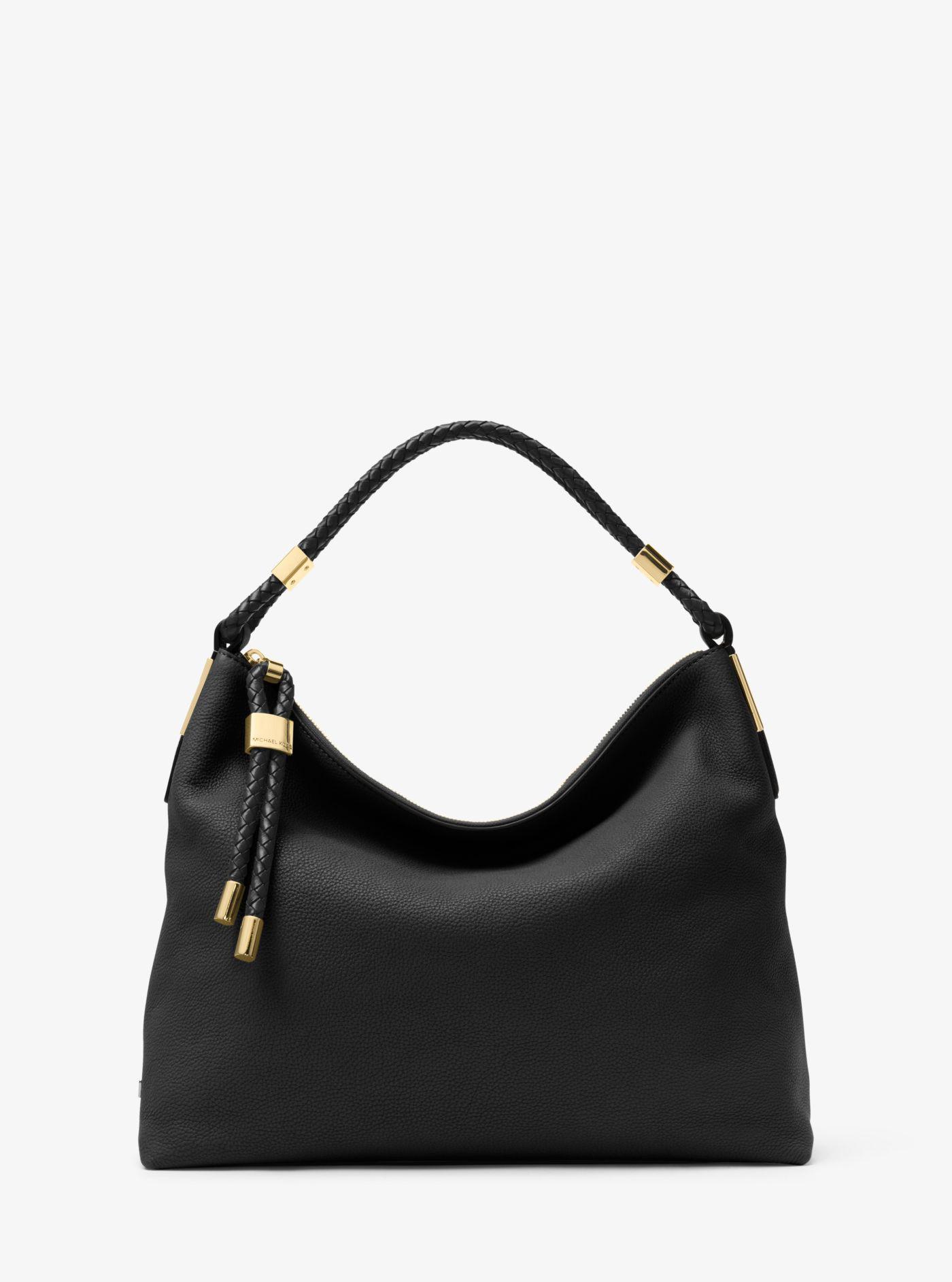 6f8868839837 Lyst - Michael Kors Skorpios Large Leather Shoulder Bag in Black