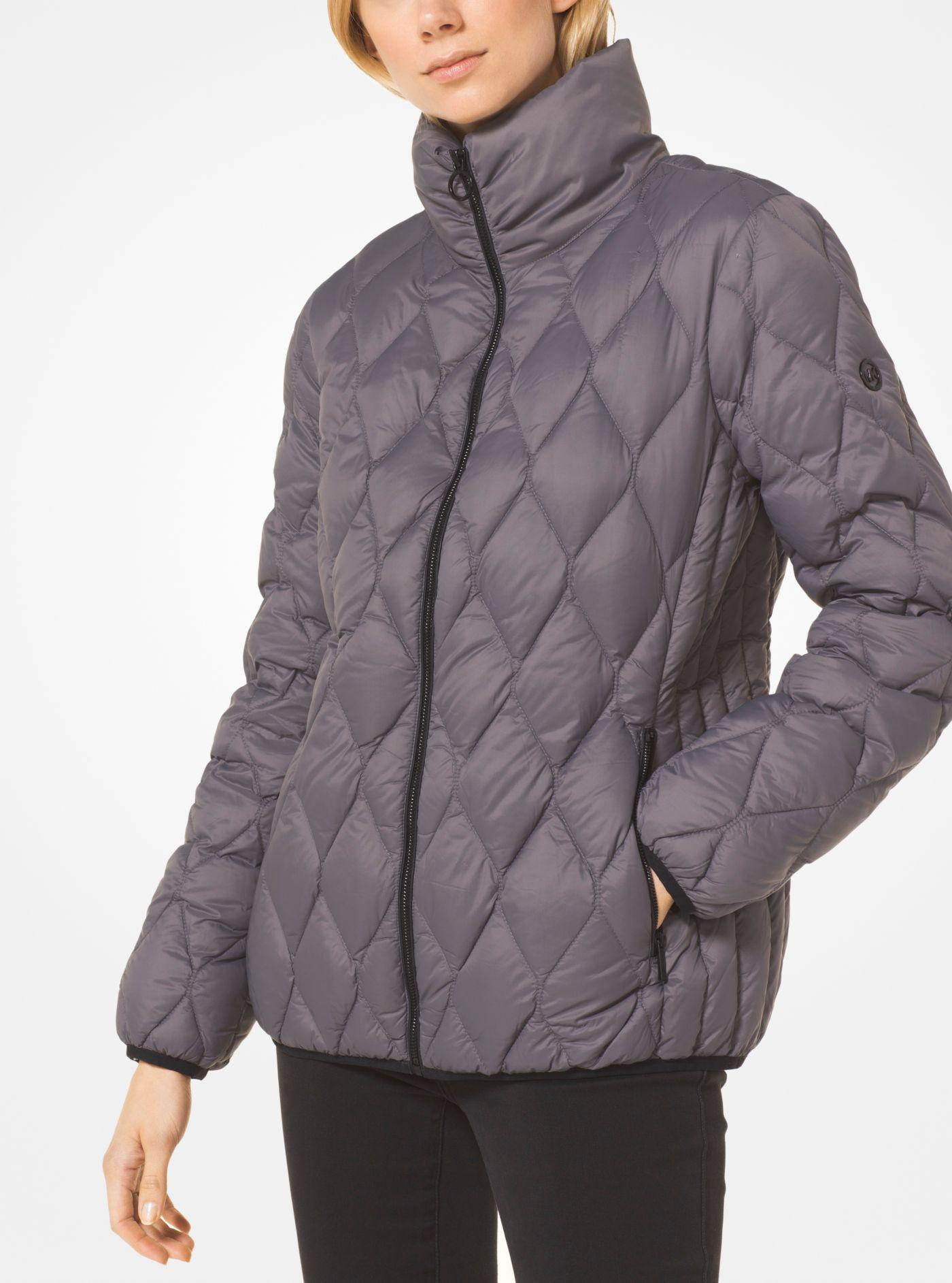 a8bc0f3ec7aa Michael Kors Quilted Nylon Packable Down Jacket in Gray - Lyst