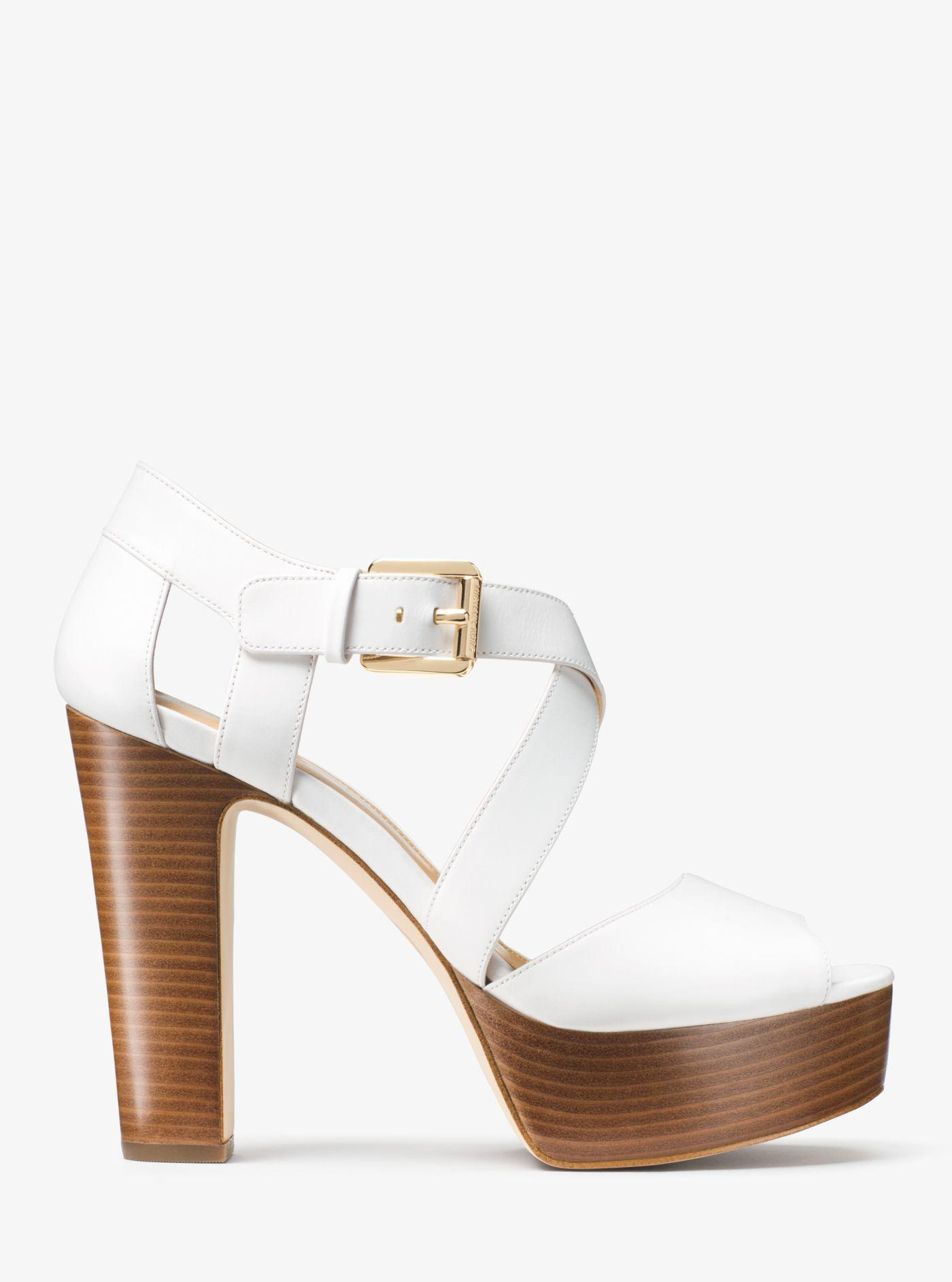 a11c99f512d Lyst - Michael Kors Jodi Leather Platform Sandal in White