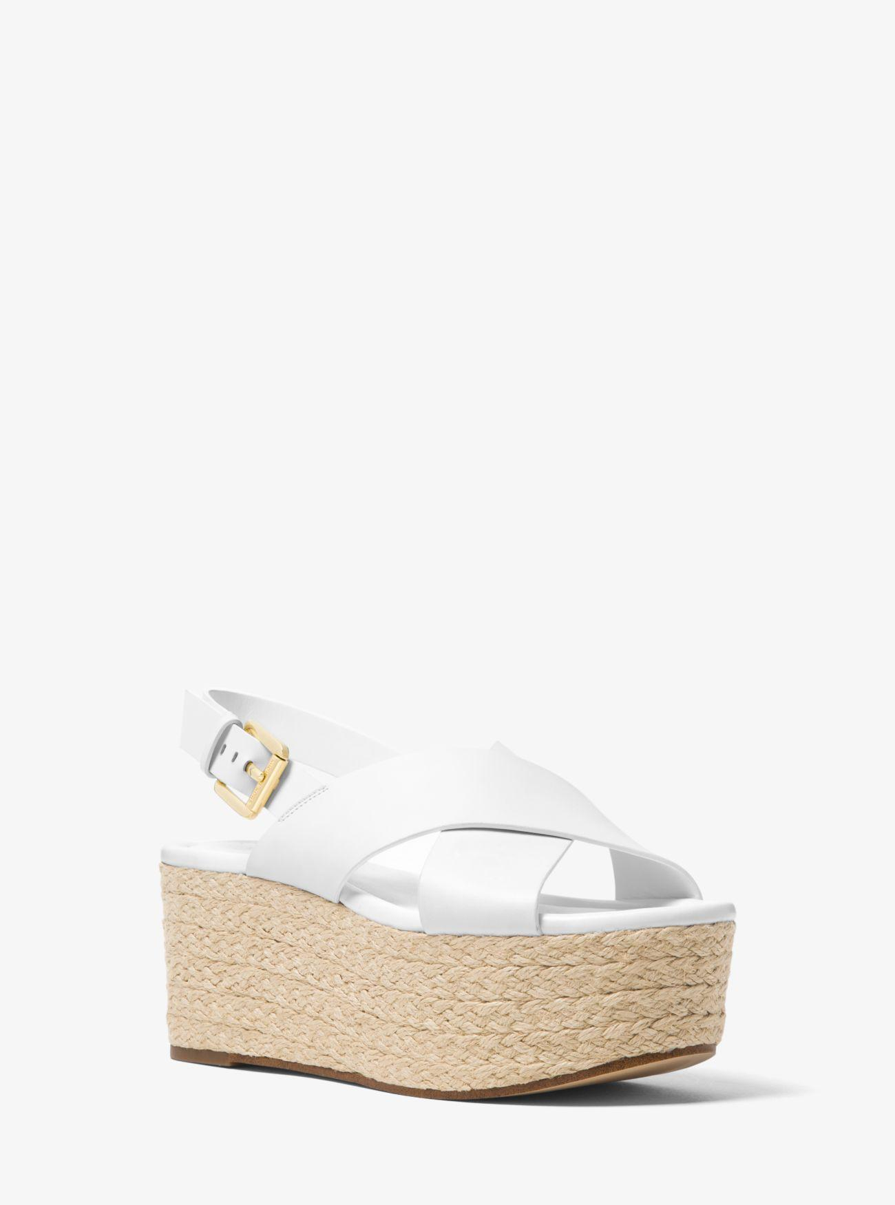 0b076ec7d9a8 Lyst - Michael Kors Jodi Leather Espadrille Wedge in White