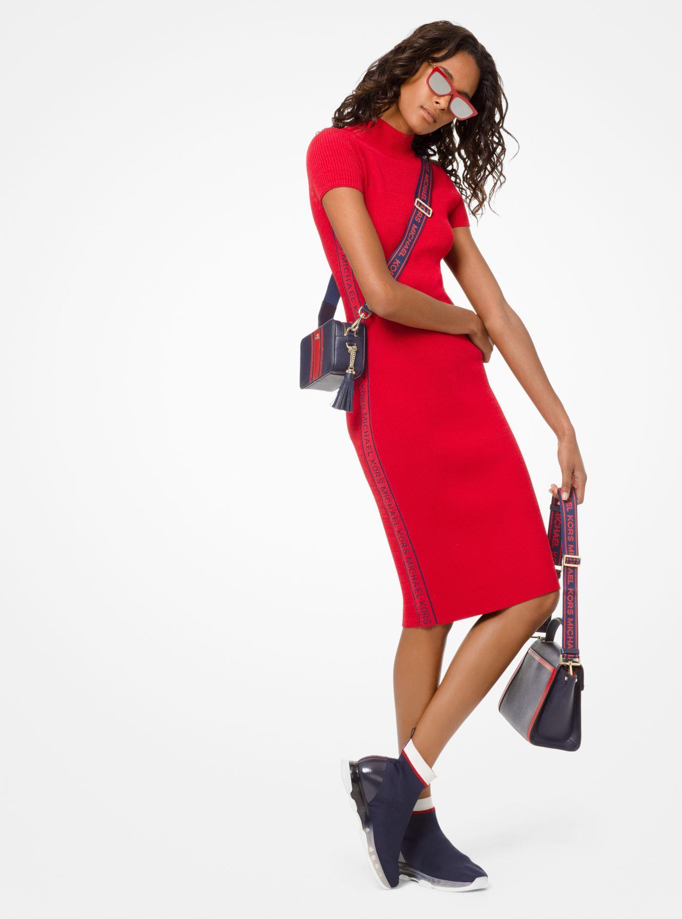 90e6fbff4b7 Michael Kors Logo Tape Ribbed Knit Dress in Red - Lyst