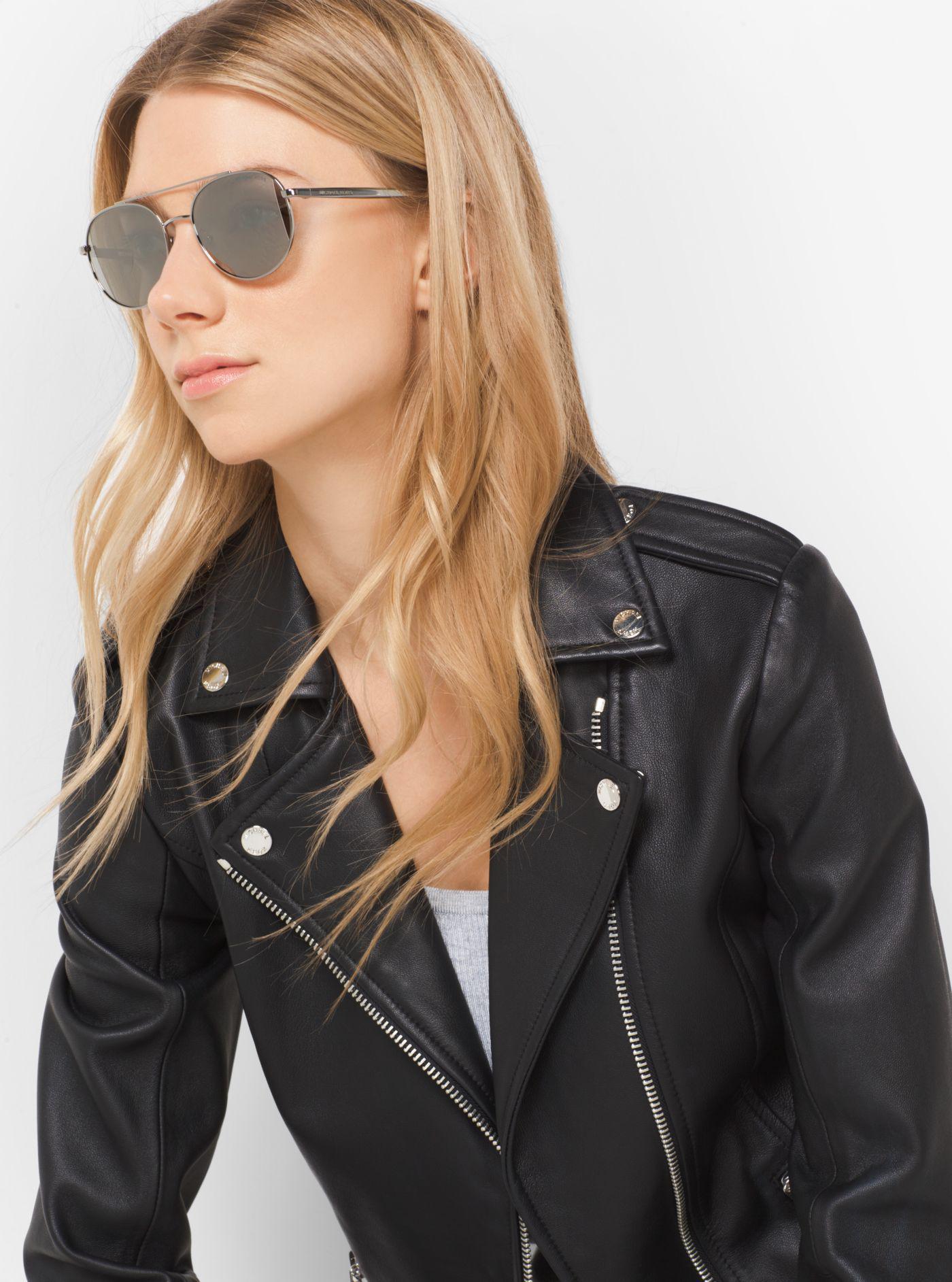 67142702edd739 Michael Kors Lon Rounded Aviator Sunglasses in Gray - Lyst