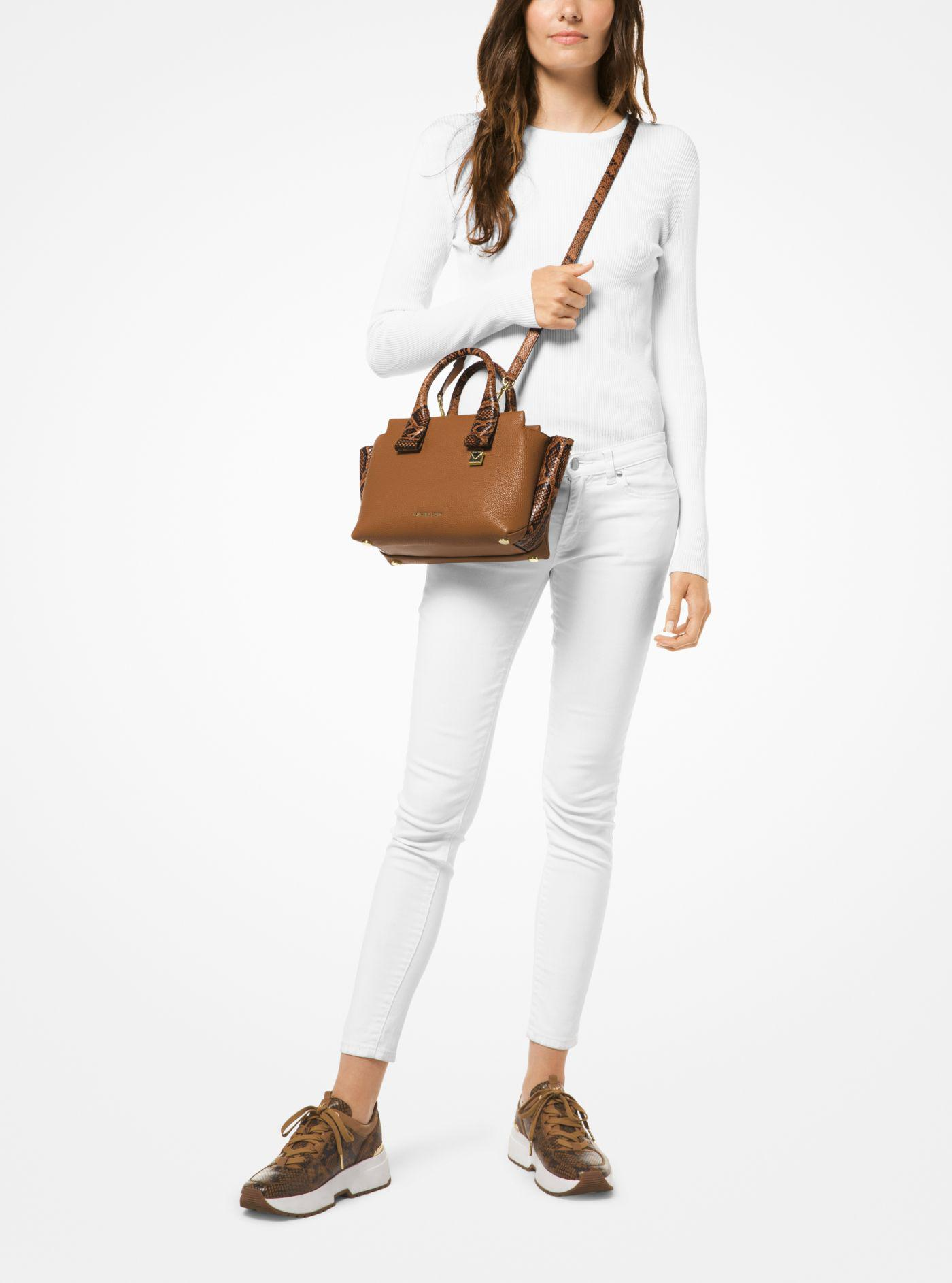 e54d02e42c50 Michael Kors Rollins Small Snake-embossed Leather Satchel in Brown ...