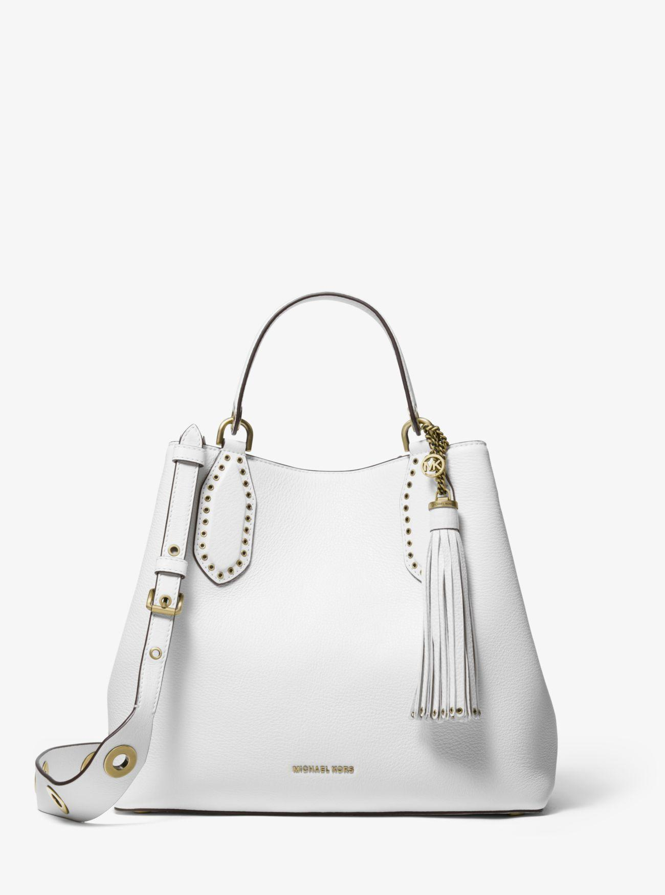 aab3a56078d0 MICHAEL Michael Kors. Women s White Brooklyn Large Pebbled Leather Satchel